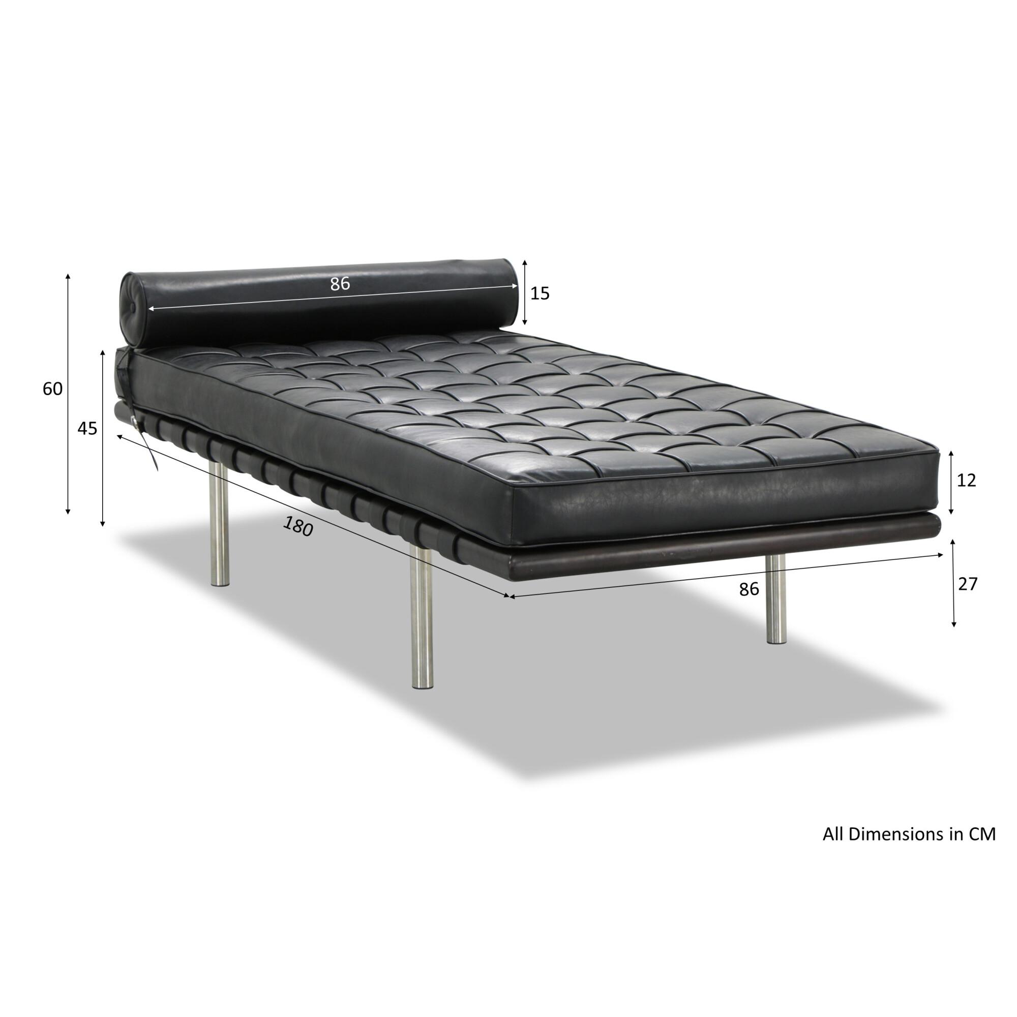 Super Barcelona Day Bed In Black Pu Evergreenethics Interior Chair Design Evergreenethicsorg