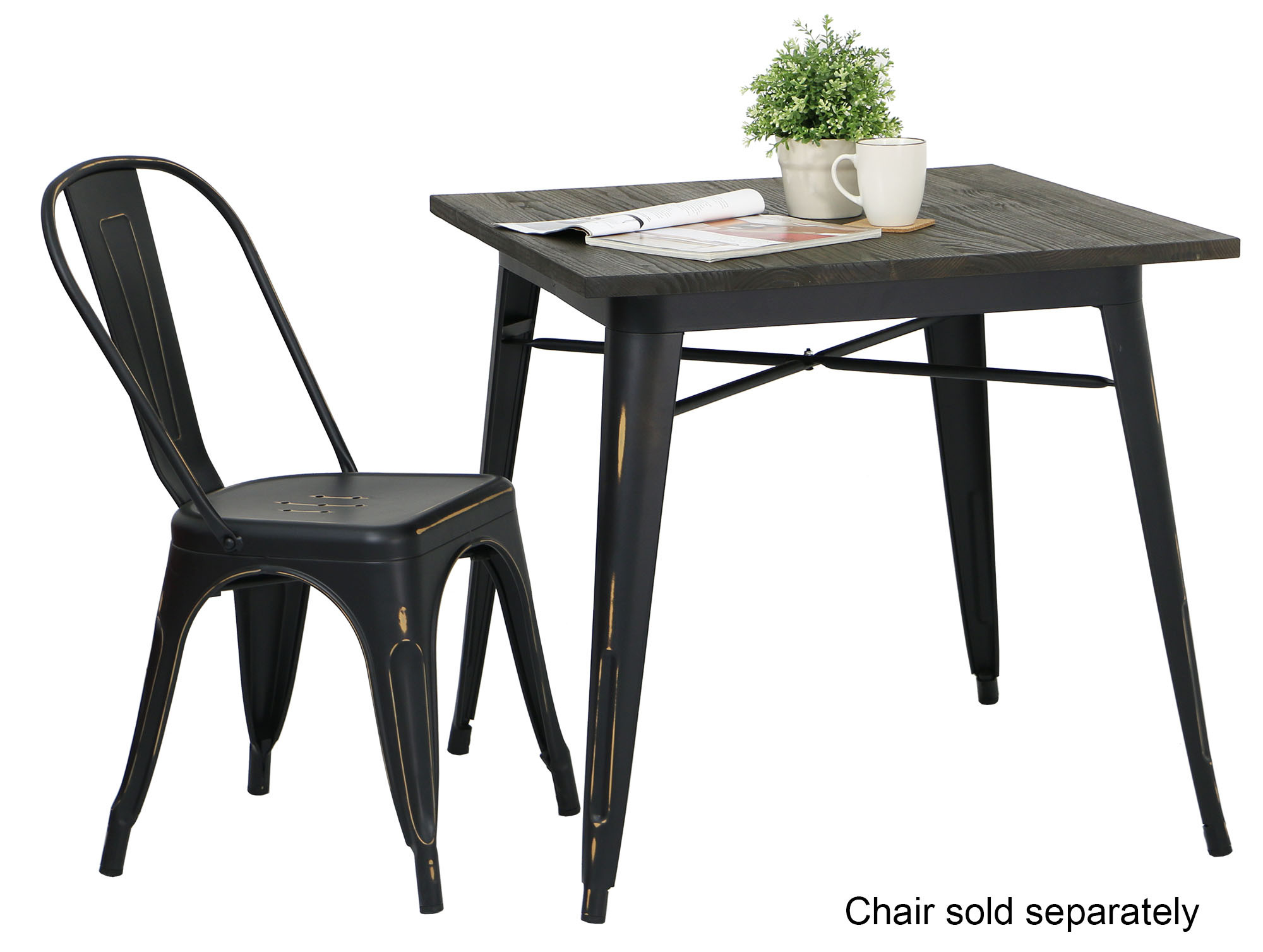 Modus Metal Dining Table With Wood Top Antique Black