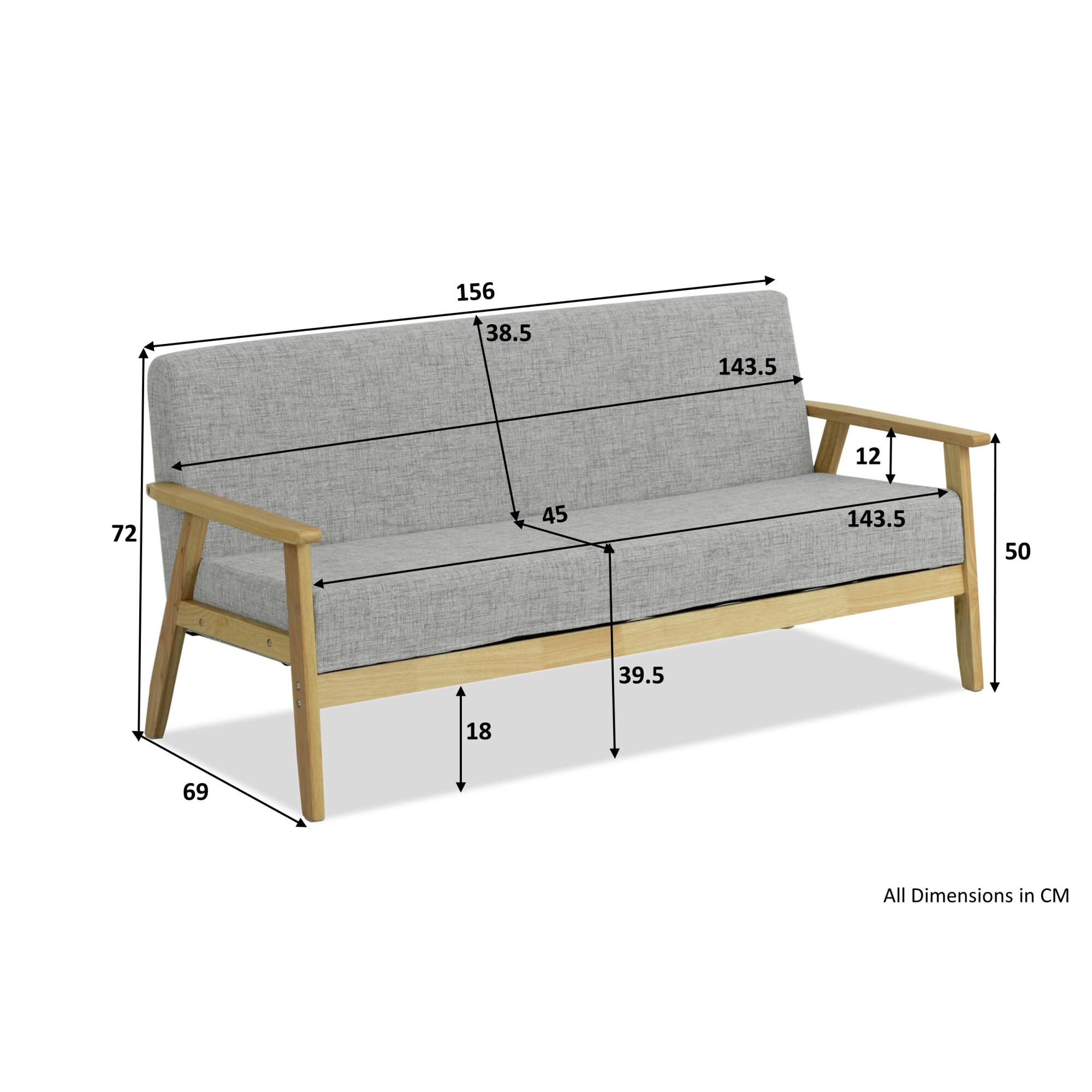 Hans 3 Seater Sofa (Granite)
