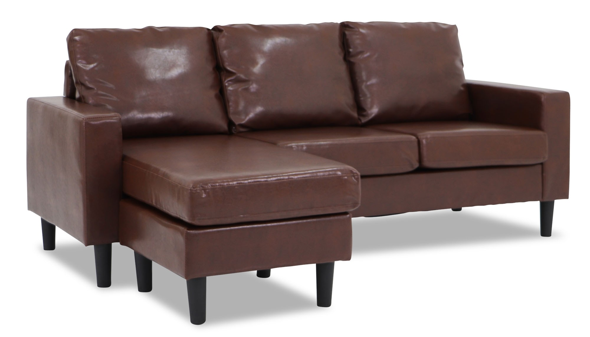 Ejiro L Shape Sofa In Pvc Brown Furniture Home D Cor Fortytwo ~ Brown Leather L Shaped Sofa