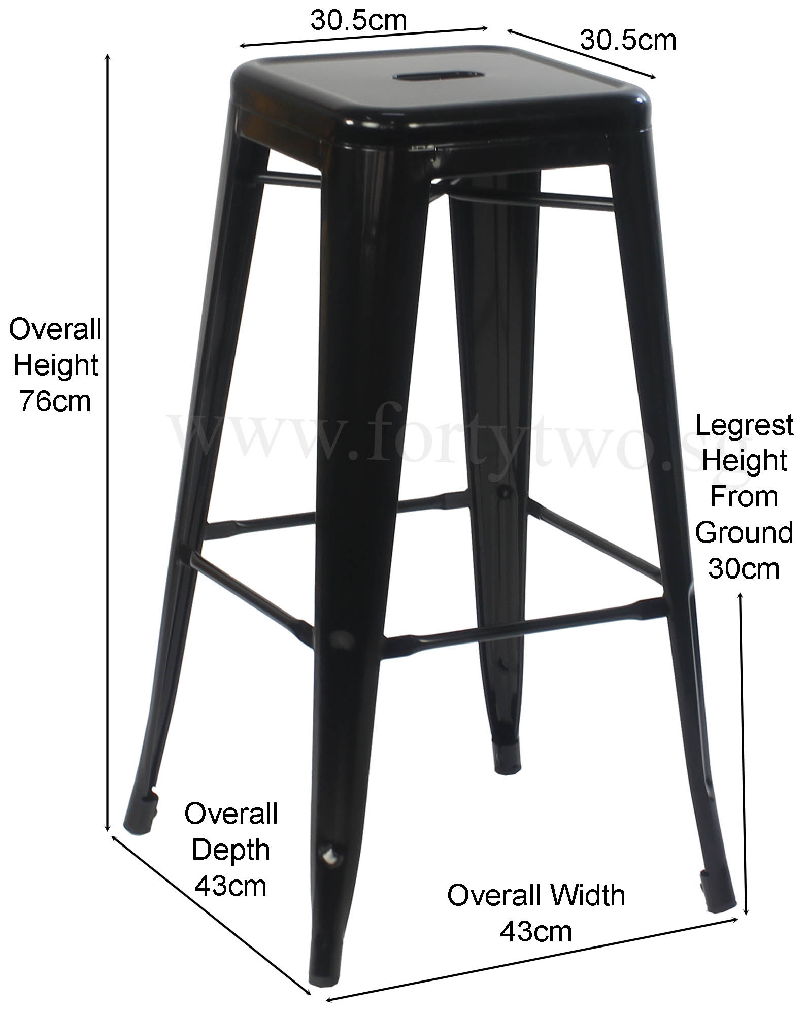 Retro Metal Bar Stool Black