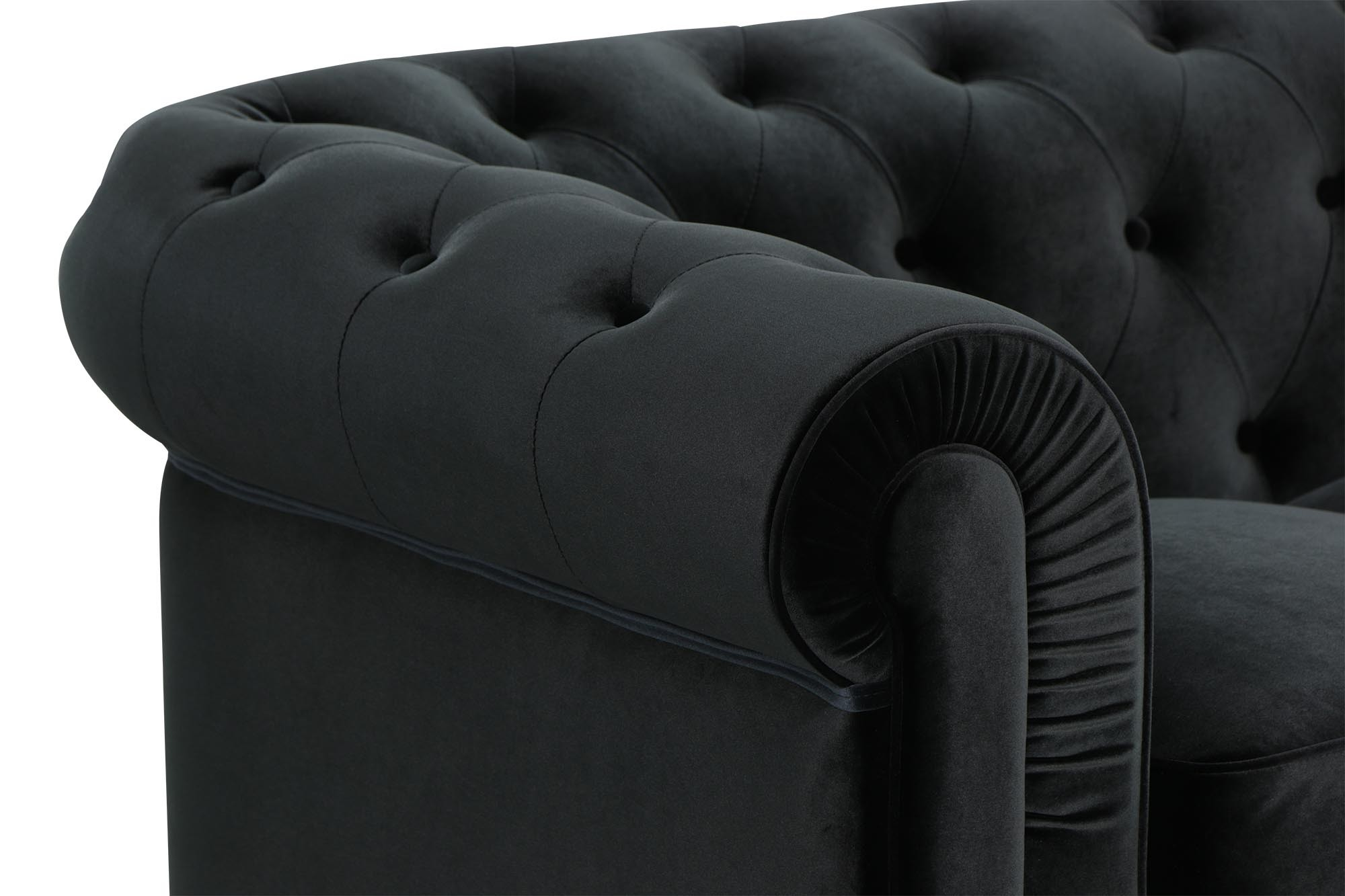 Benjamin Classical 3 Seater Velvet Black Sofa