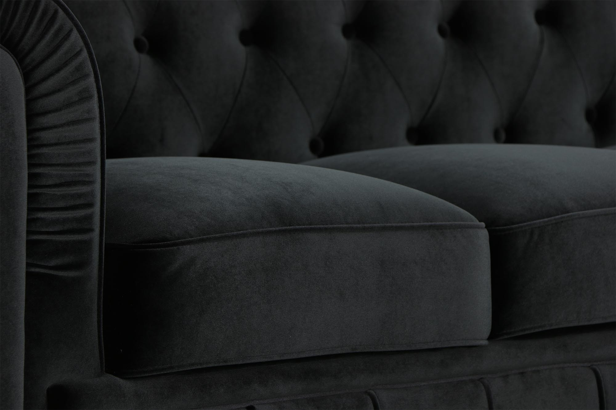 Benjamin Classical 3 Seater Velvet Black Sofa