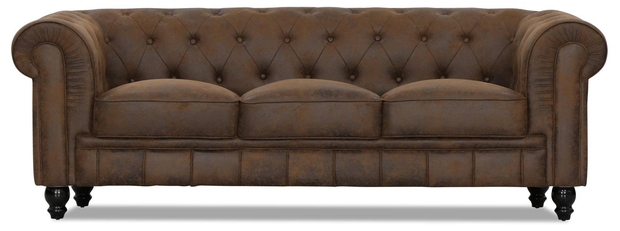 Benjamin Classical 3 Seater Pu Leather Sofa Vintage