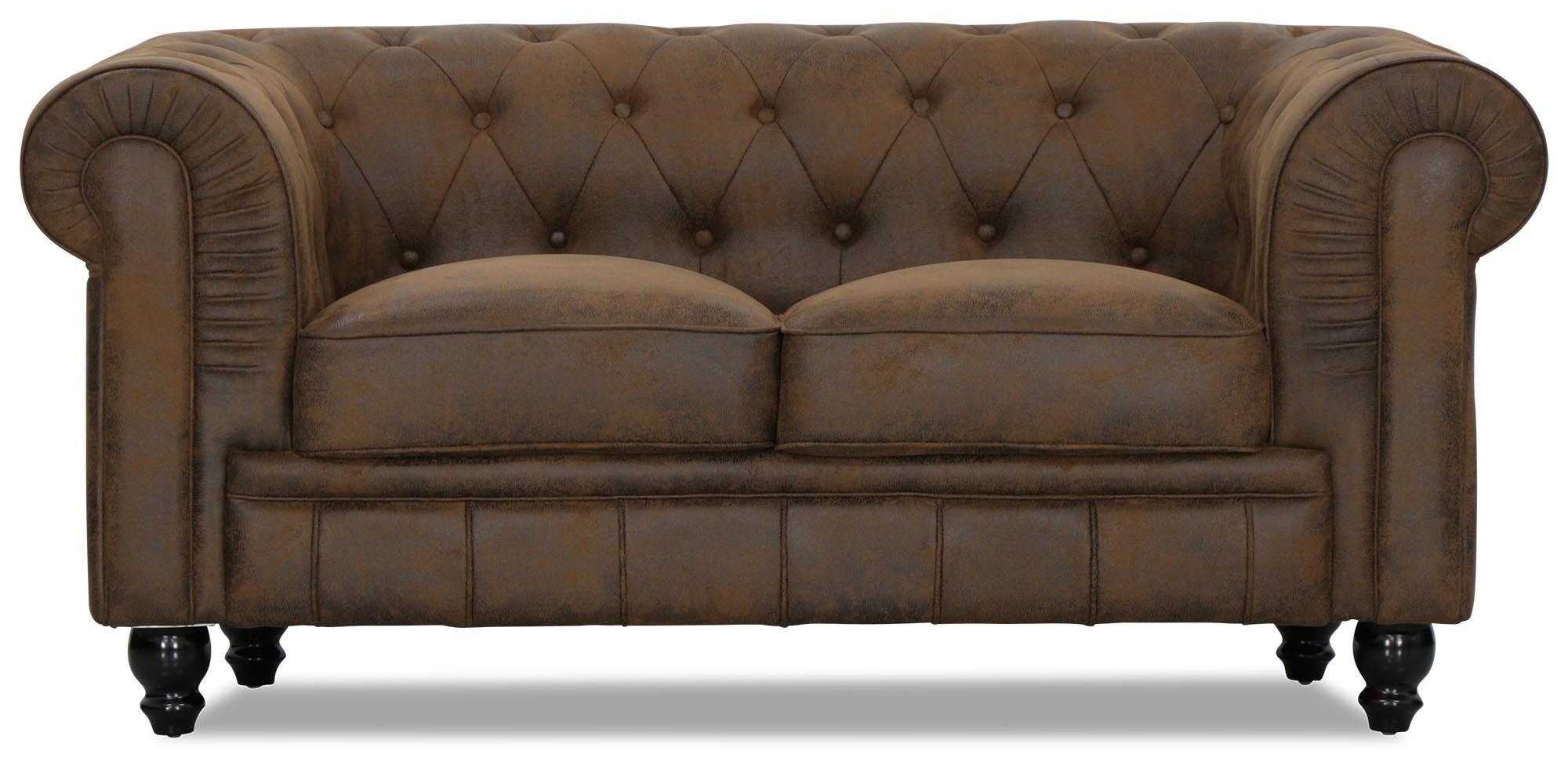 Benjamin Classical 2 Seater Vintage PU Leather Sofa | Furniture ...