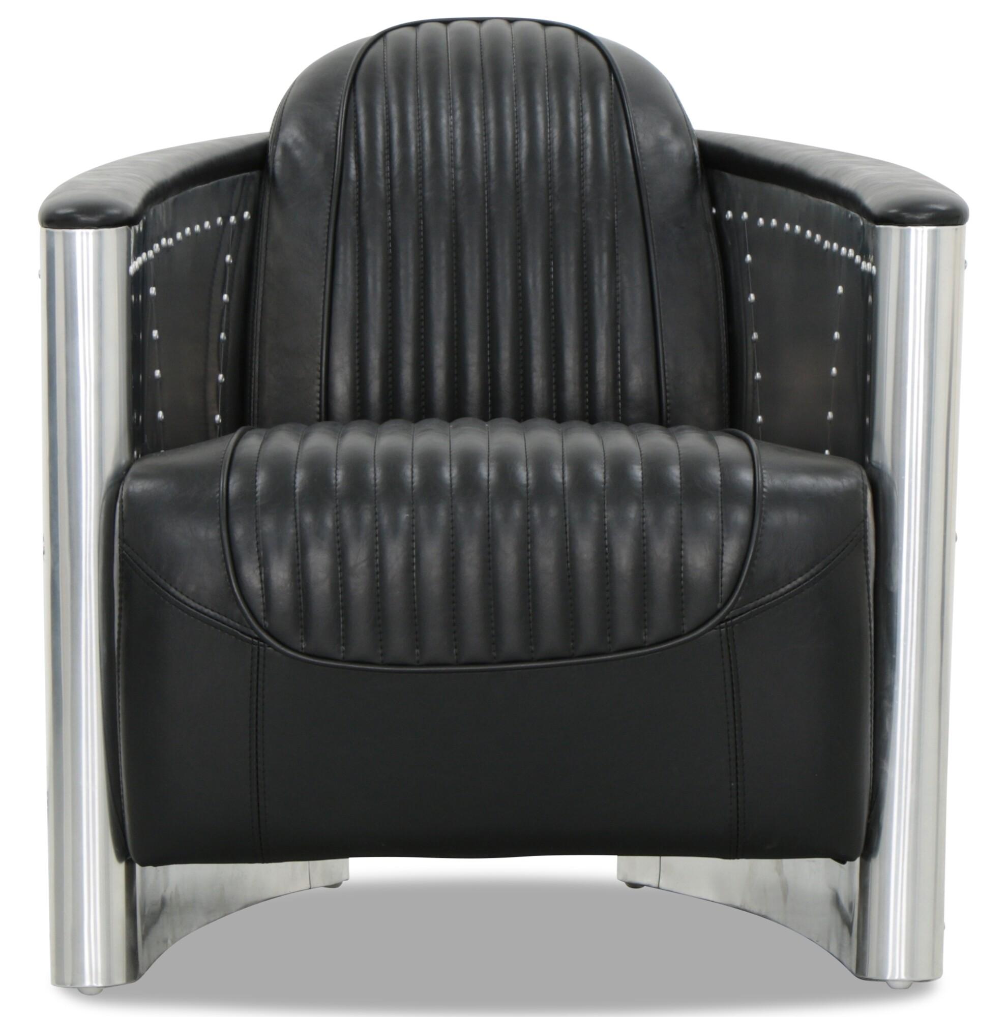 Designer Replica Aviator Arm Chair In Black Pu Leather With Aluminium Silver