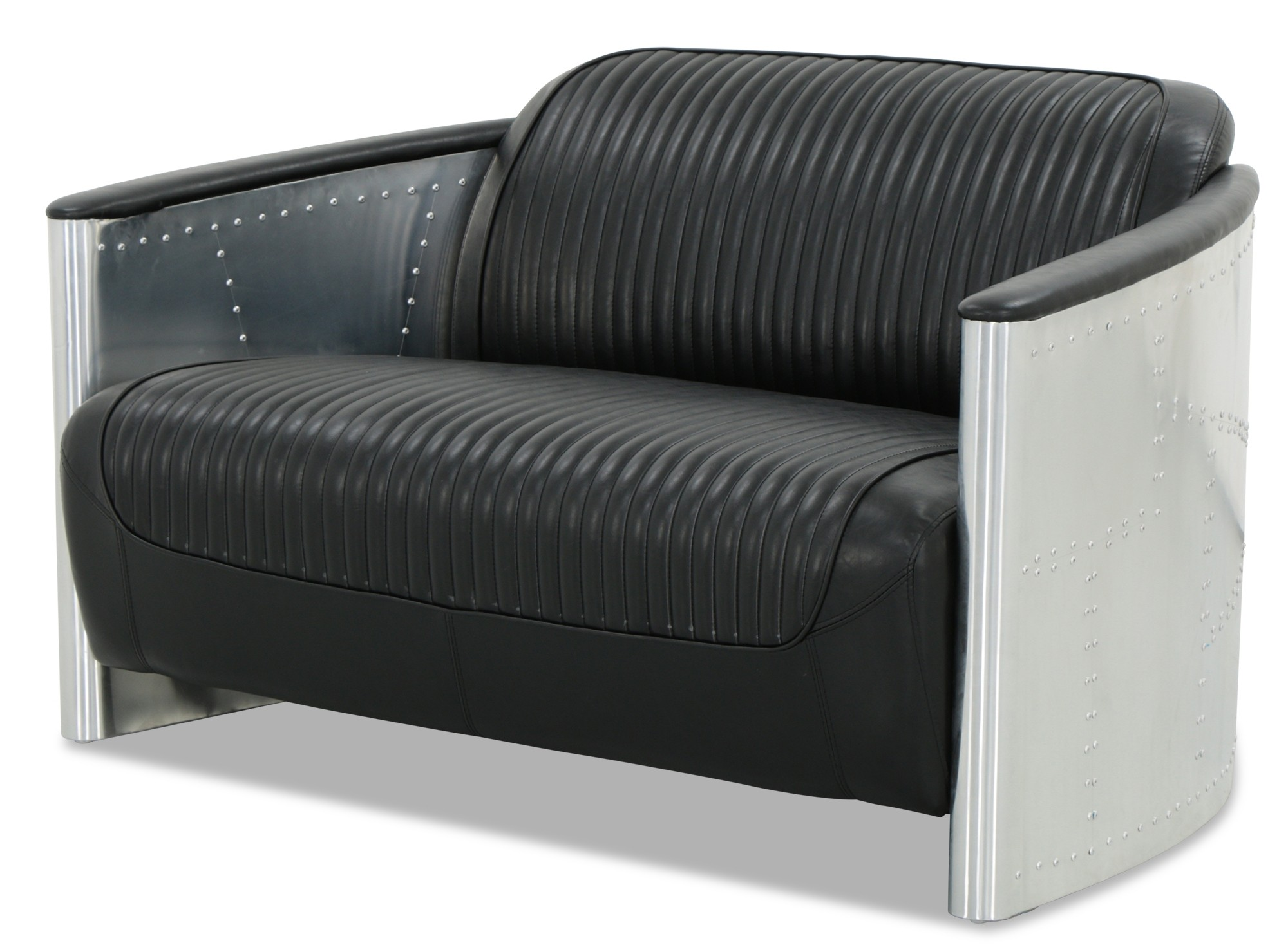 Designer replica 2 seater aviator sofa in black pu leather for Designer sofa replica