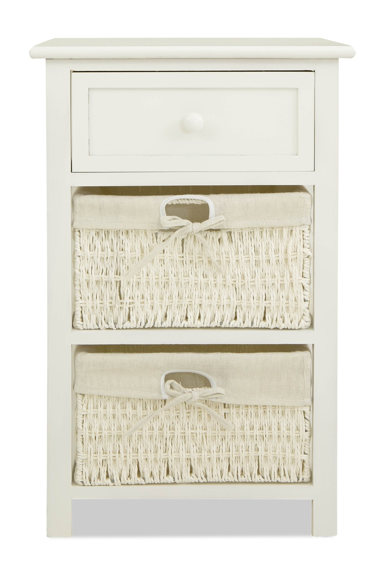 Aetti Wicker Basket Wooden Storage Cabinet White