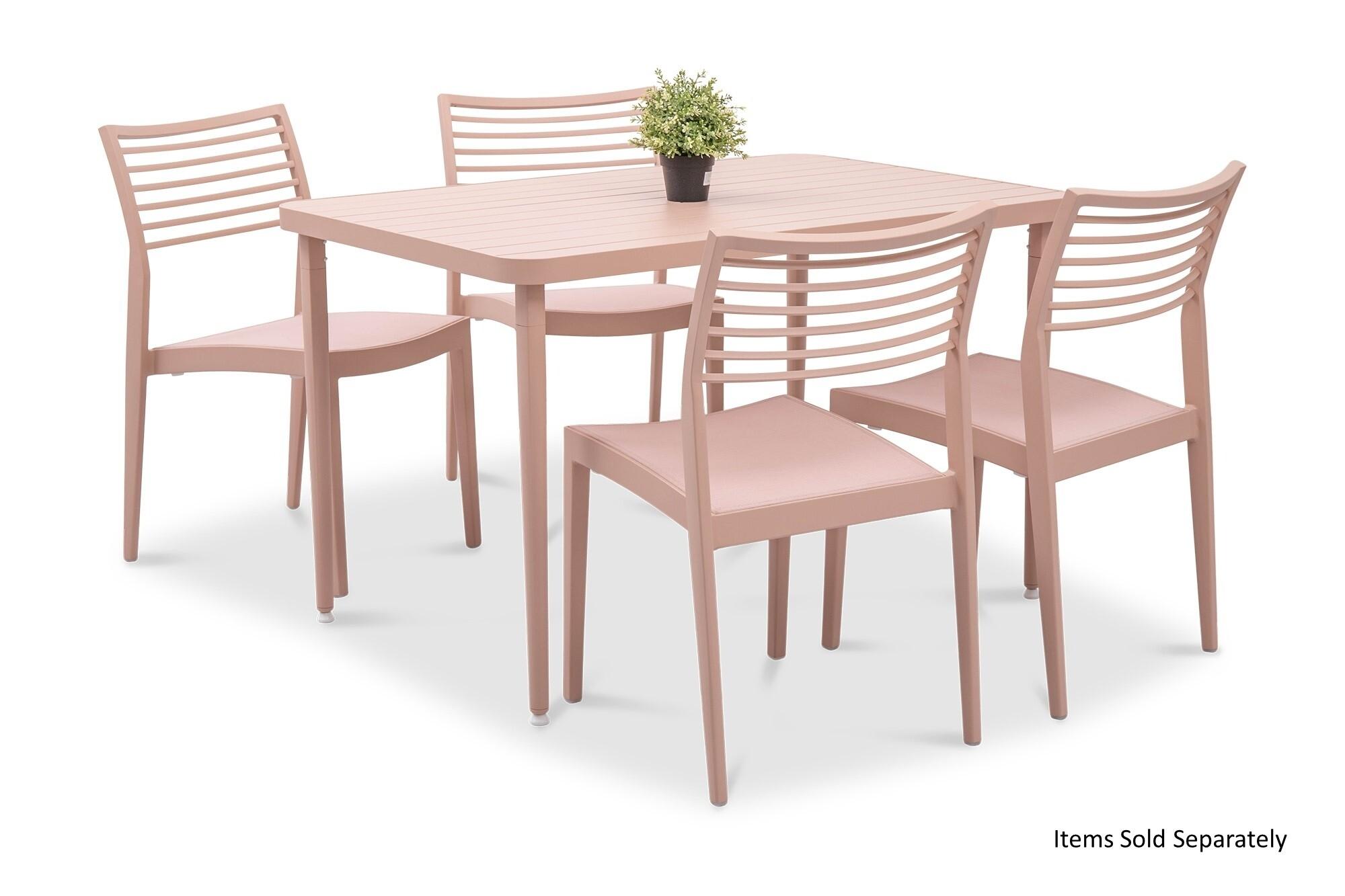 Madie Rectangular Dining Table In Pink