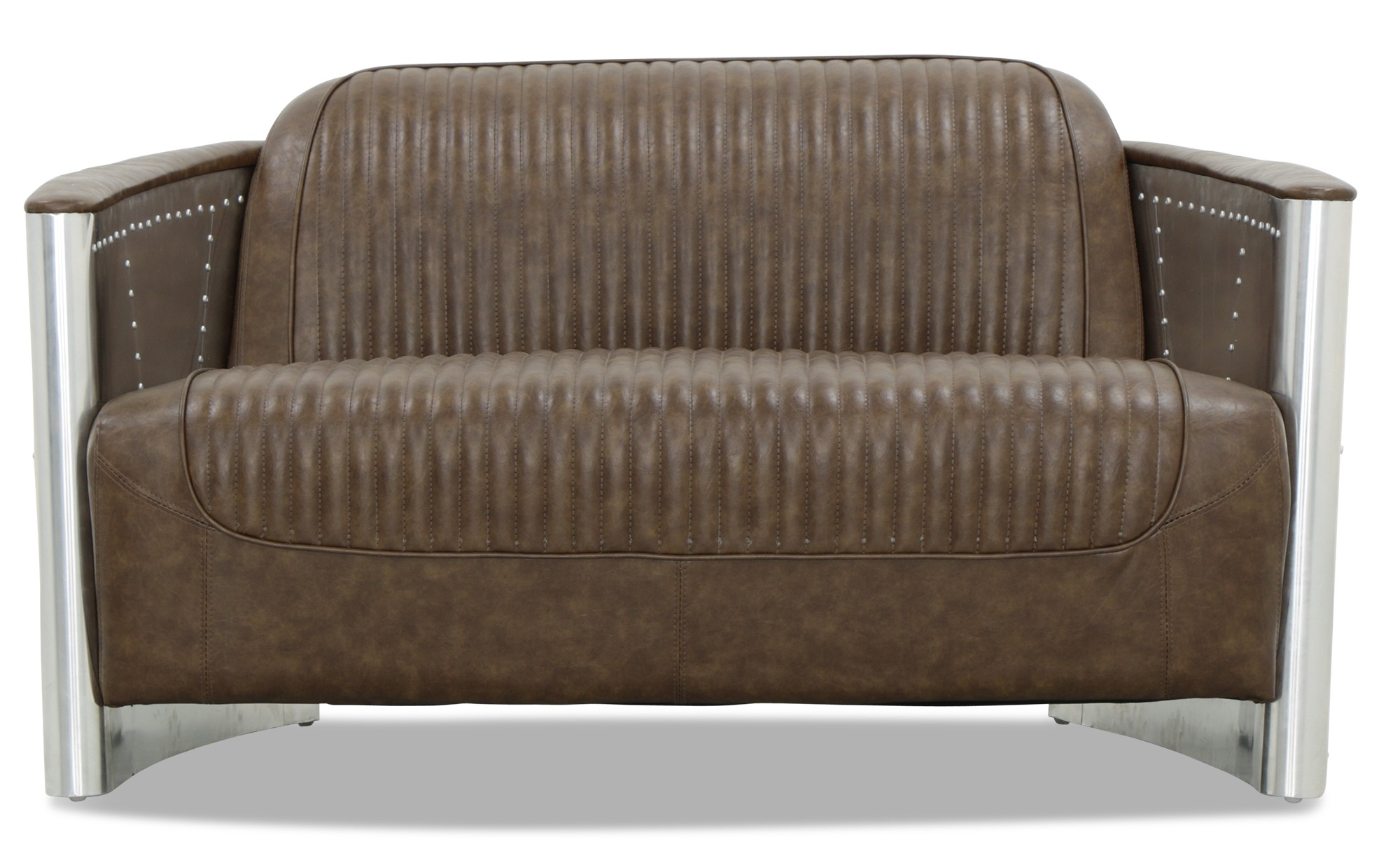 Aviator replica 2 seater sofa with aluminium silver old for Designer sofa replica