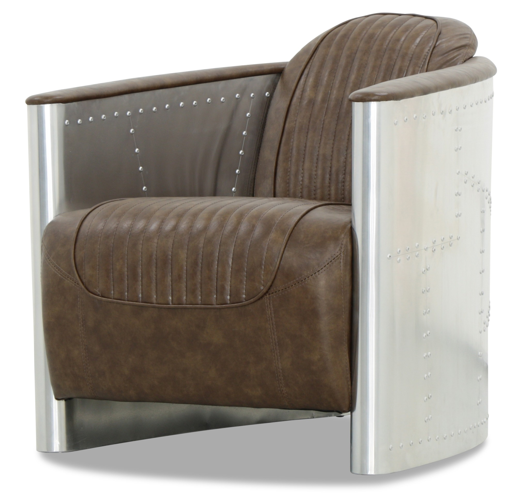 Aviator Replica Arm Chair with Aluminium Silver (Old Brown ...