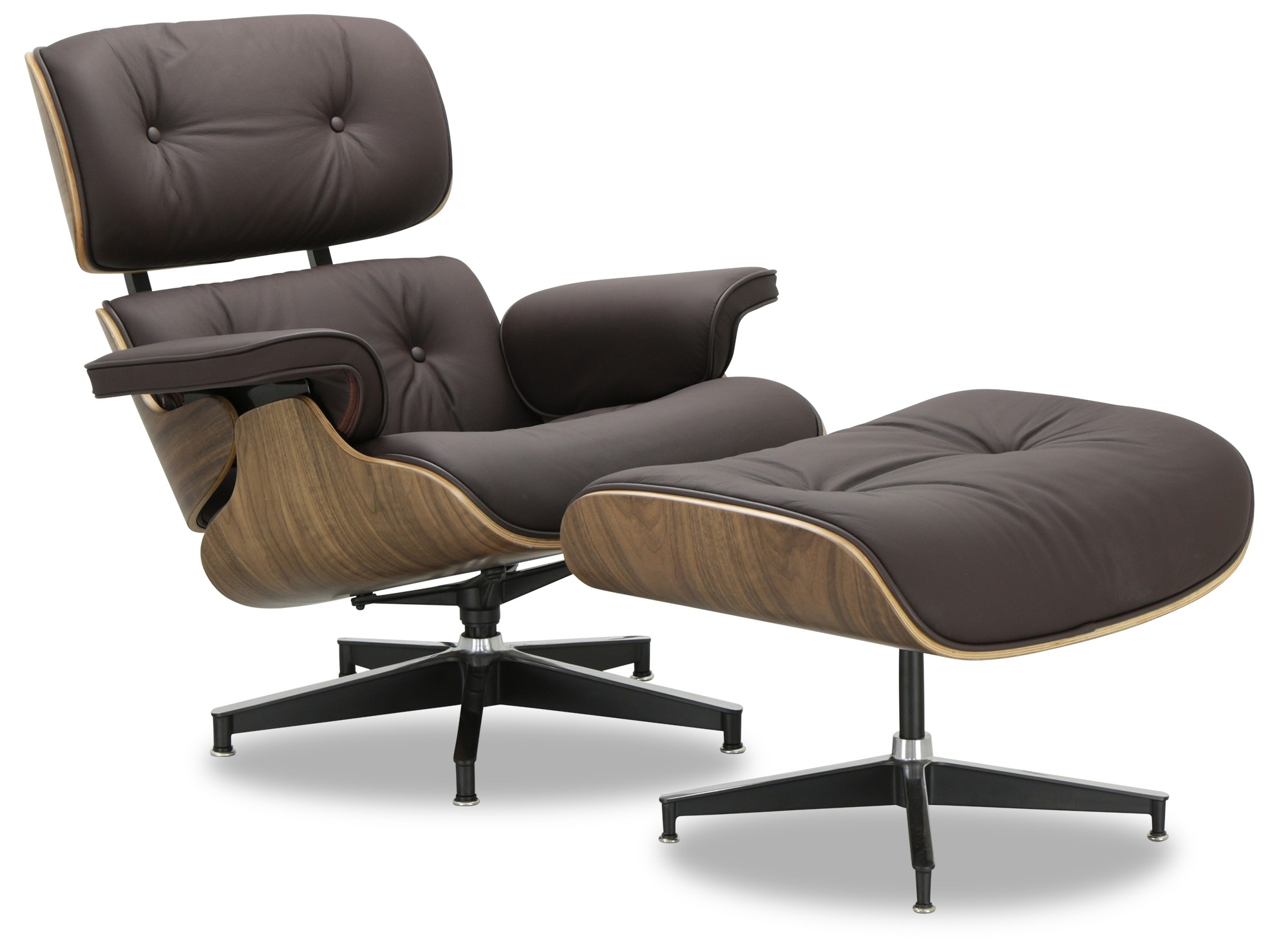 Designer Replica Eames Lounge Chair  Dark Brown Leather