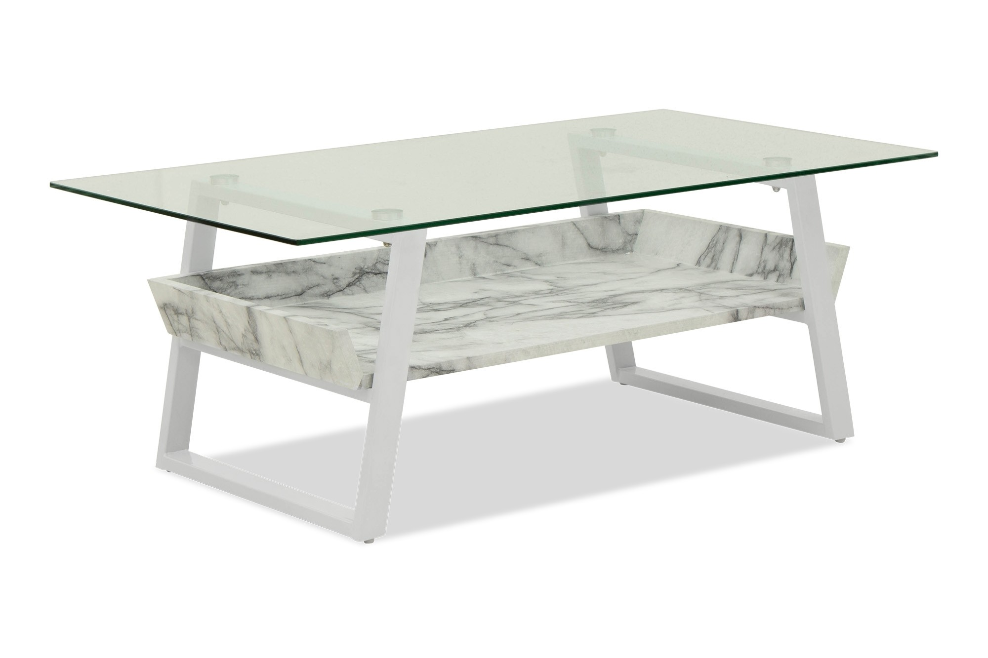 Sussi Tempered Glass Coffee Table Marble Furniture Home
