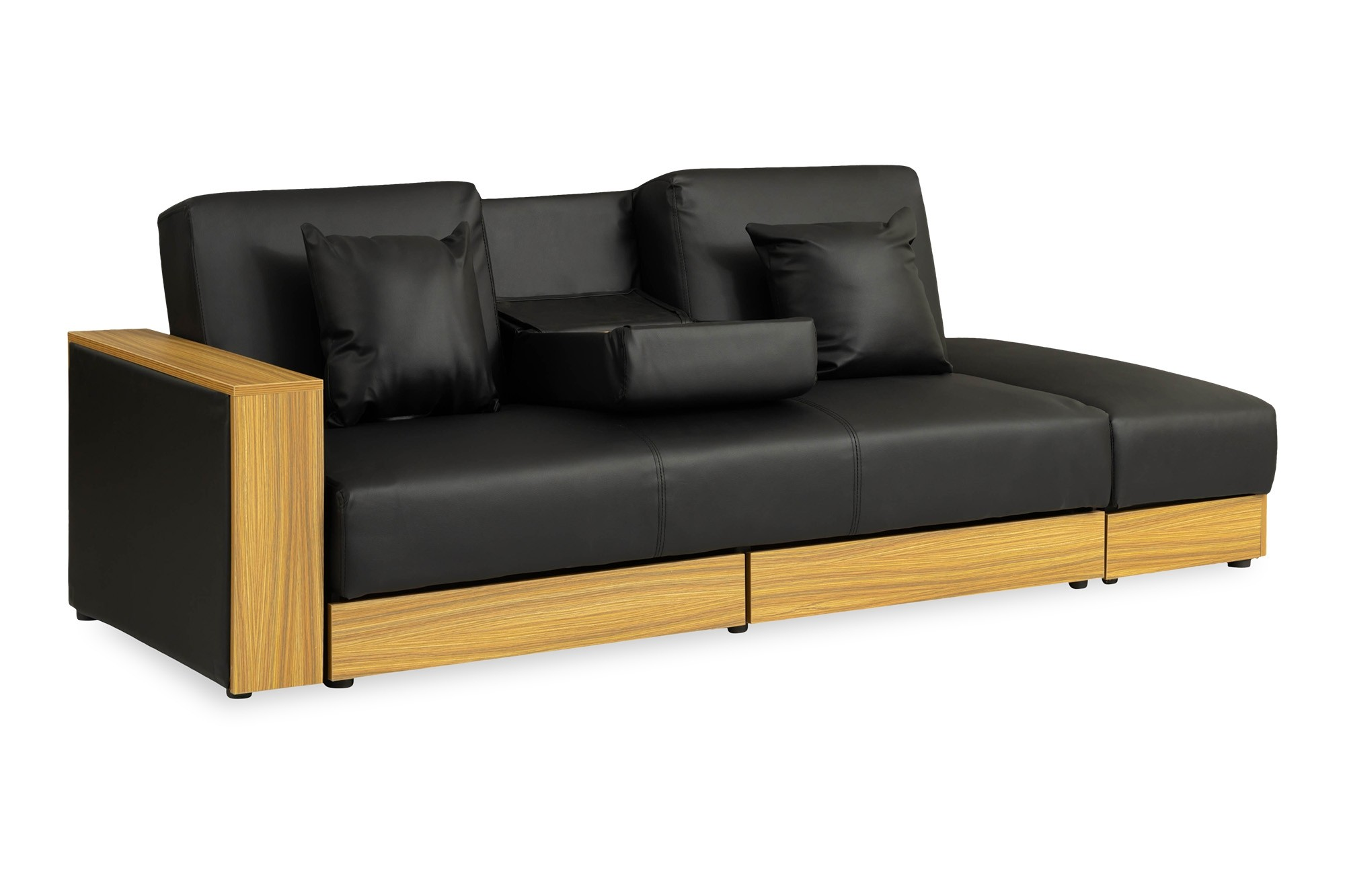 Sarai Storage Sofa Bed Pvc Black