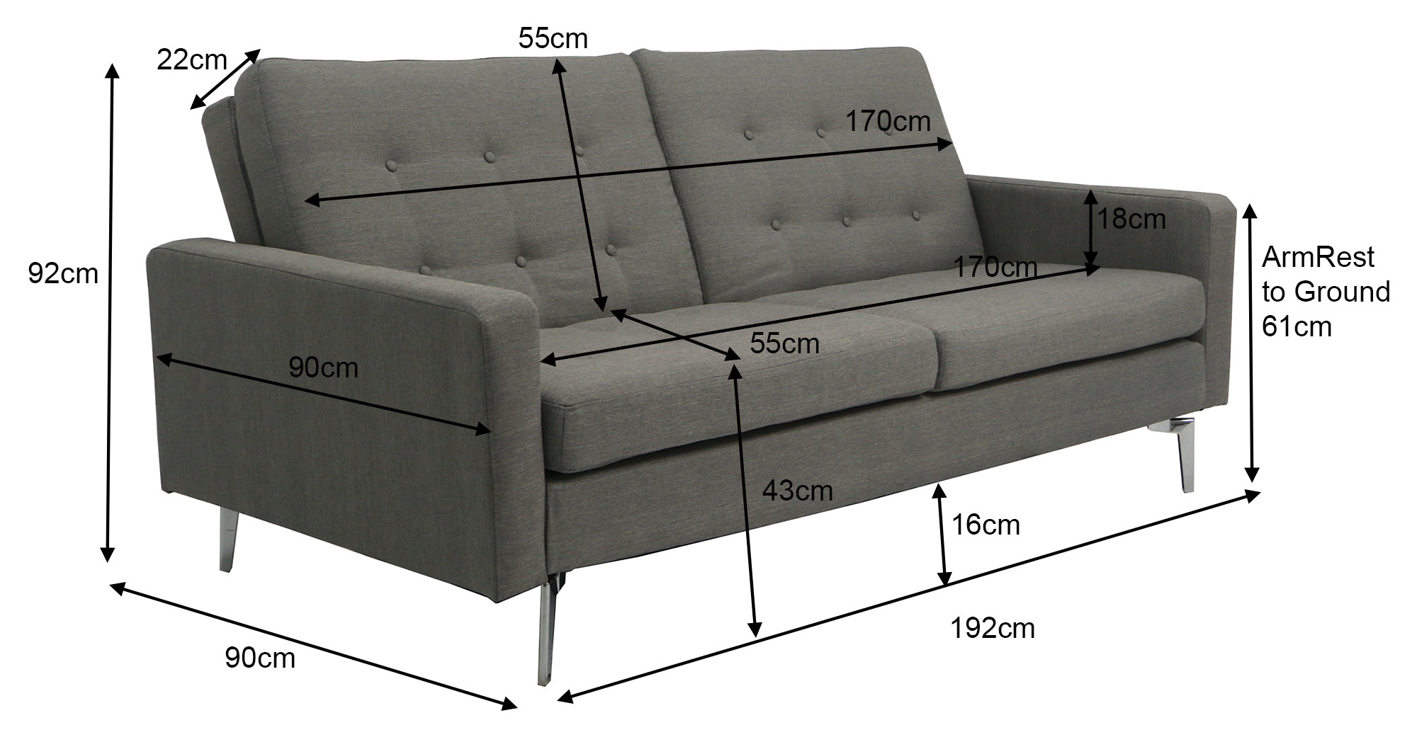 Dimensions of a 3 seater sofa for Sofa bed 3 seater uk