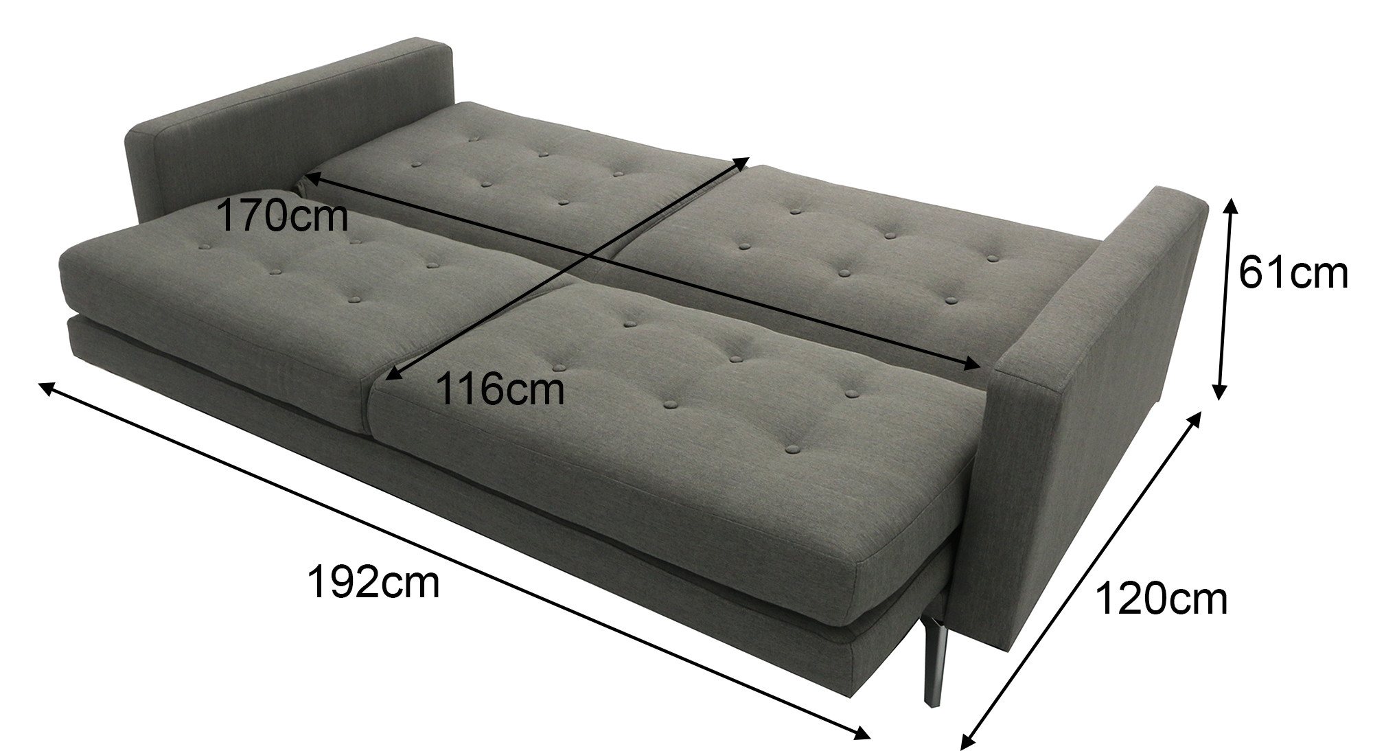 Filibert 3 Seater Sofa Bed Dark Grey Furniture Home Décor Fortytwo
