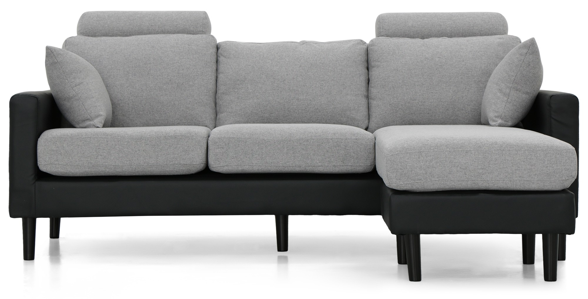 Earvin L Shape Sofa Pu Black With Light Grey Fabric Cushion