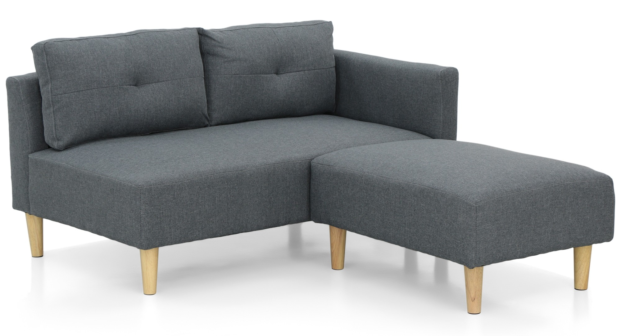 Nala Left Corner Sofa With Ottoman Grey Display Gallery Item 1 2