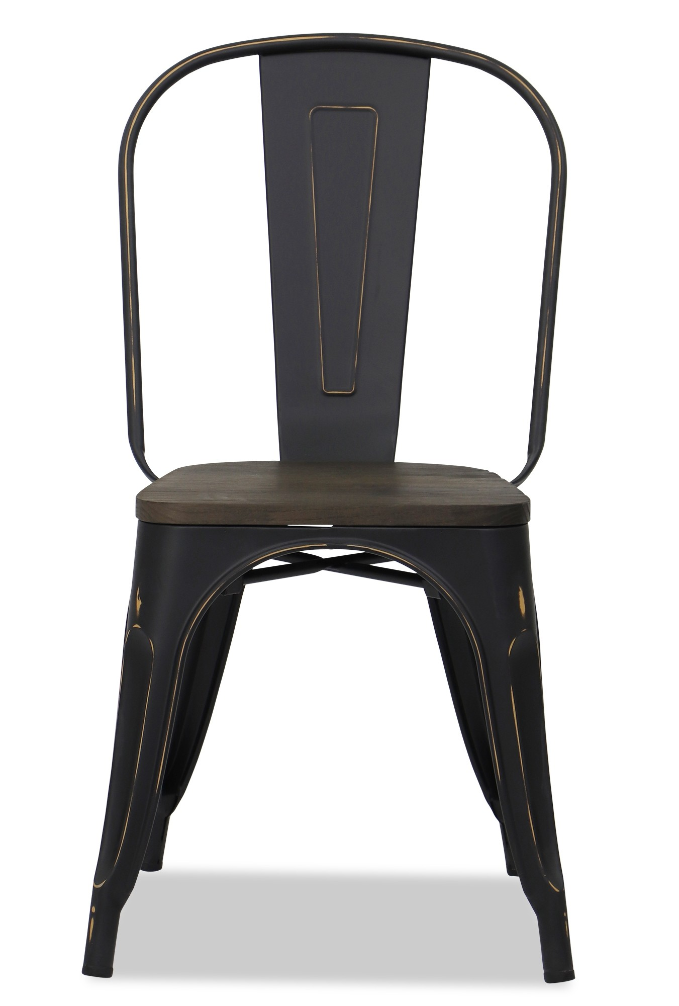 Retro Metal Chair With Wooden Seat In Antique Black