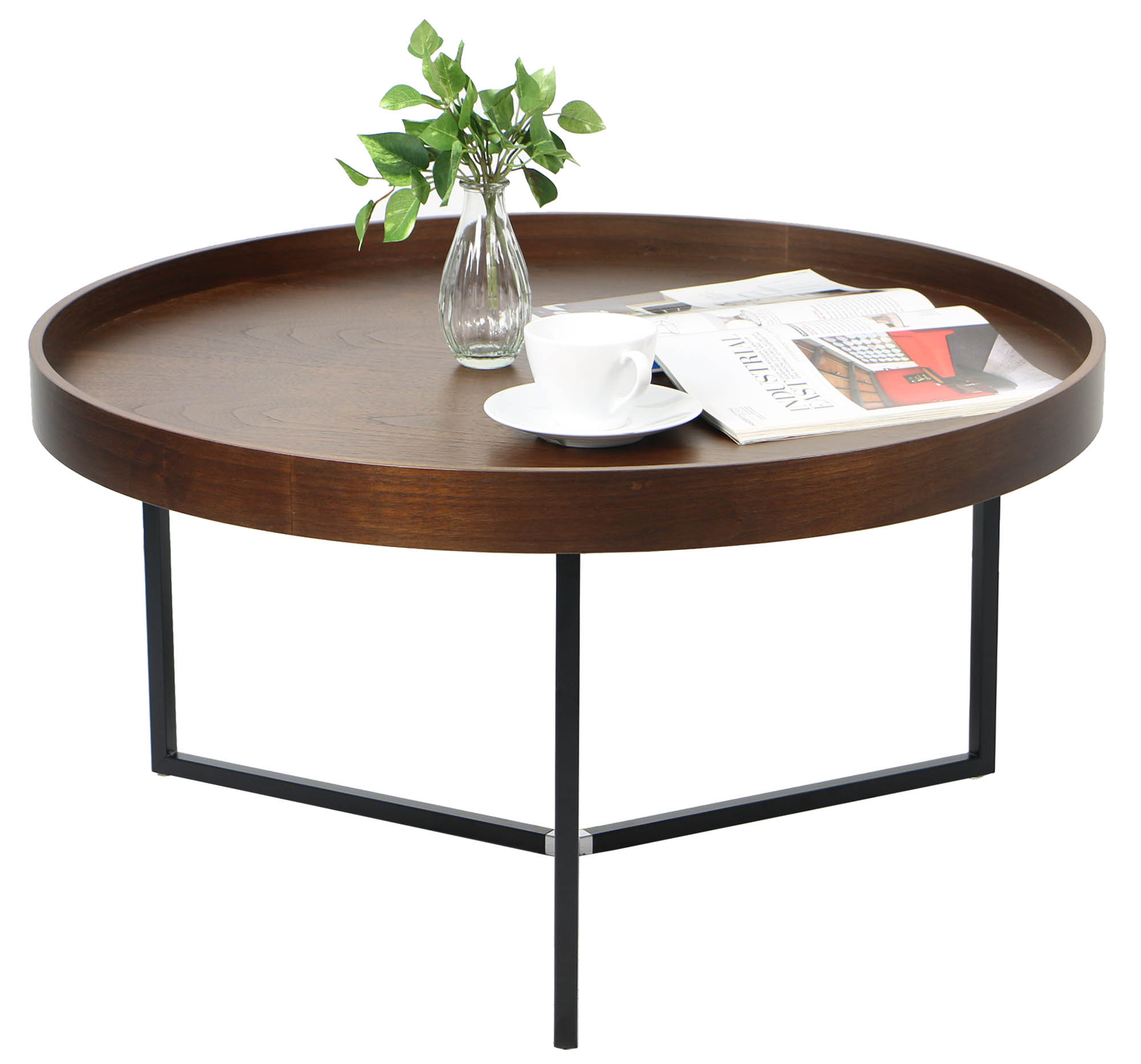Barrie walnut round tray table coffee tables living for Living room coffee table