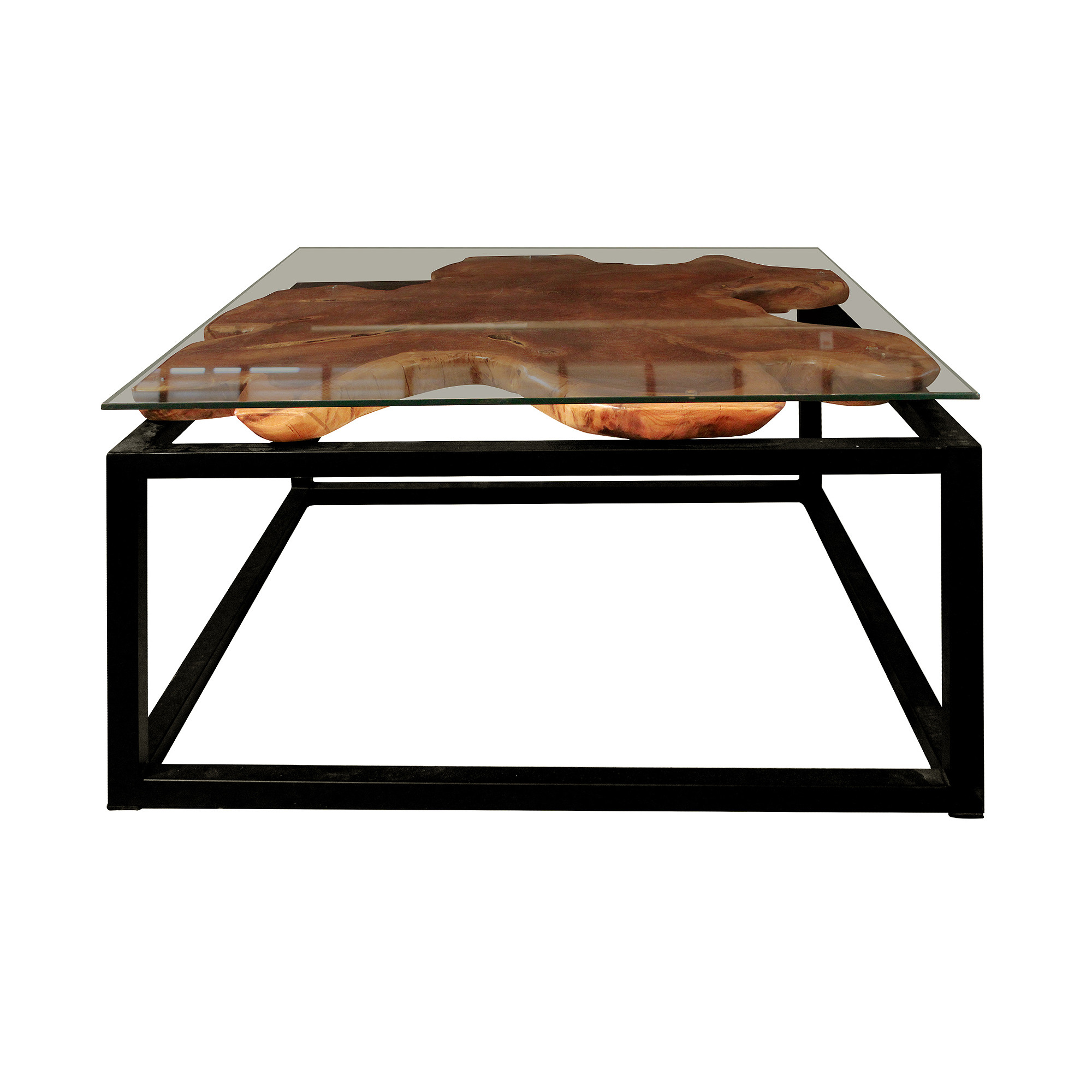 b5c523672cd5d Square Coffee Table - Teak with Metal 80. Display Gallery Item 1  Display  Gallery Item 2