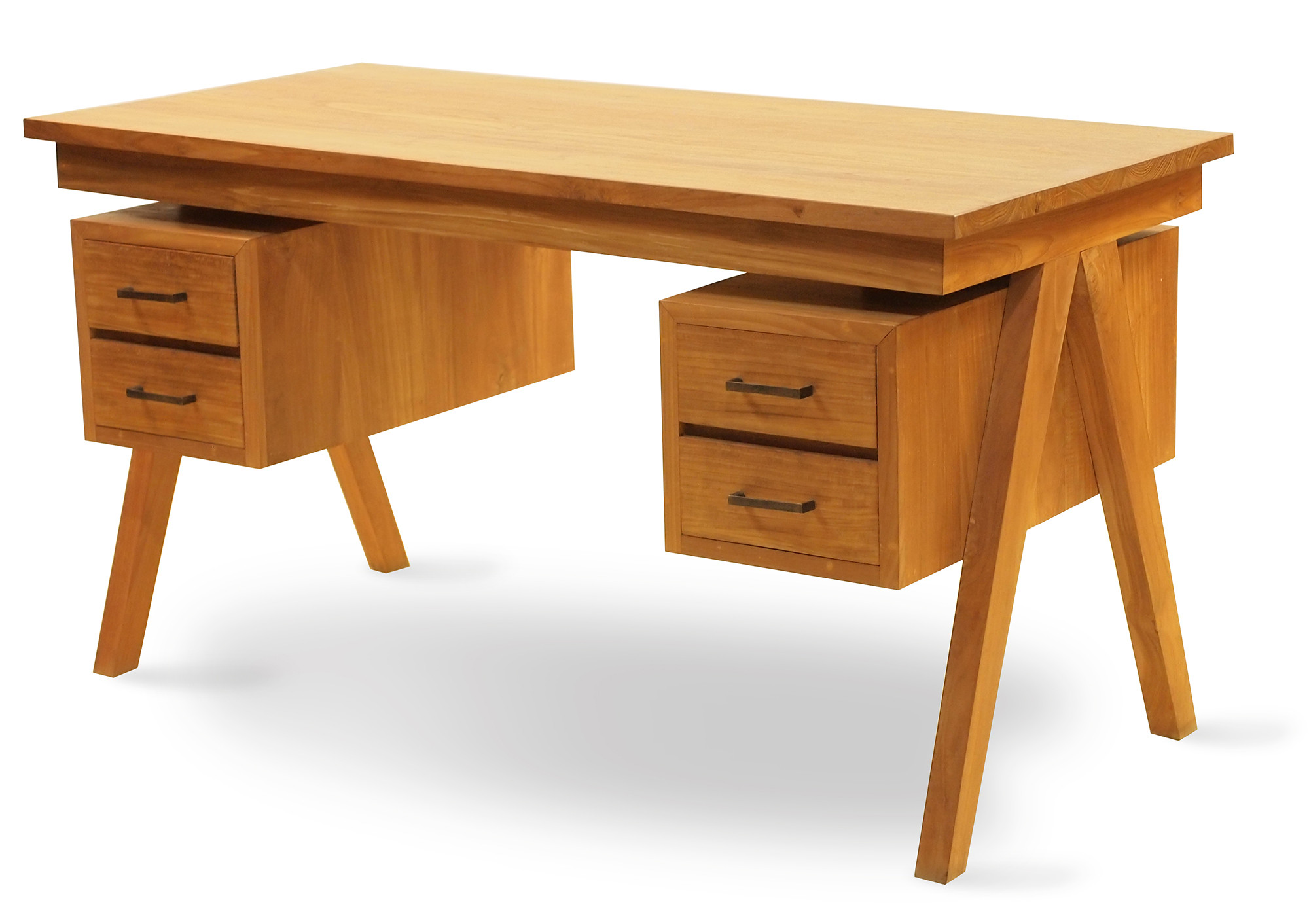 A Moveable Computer Desk That Retains You Nicely Organized Daffodil Teak Study Table