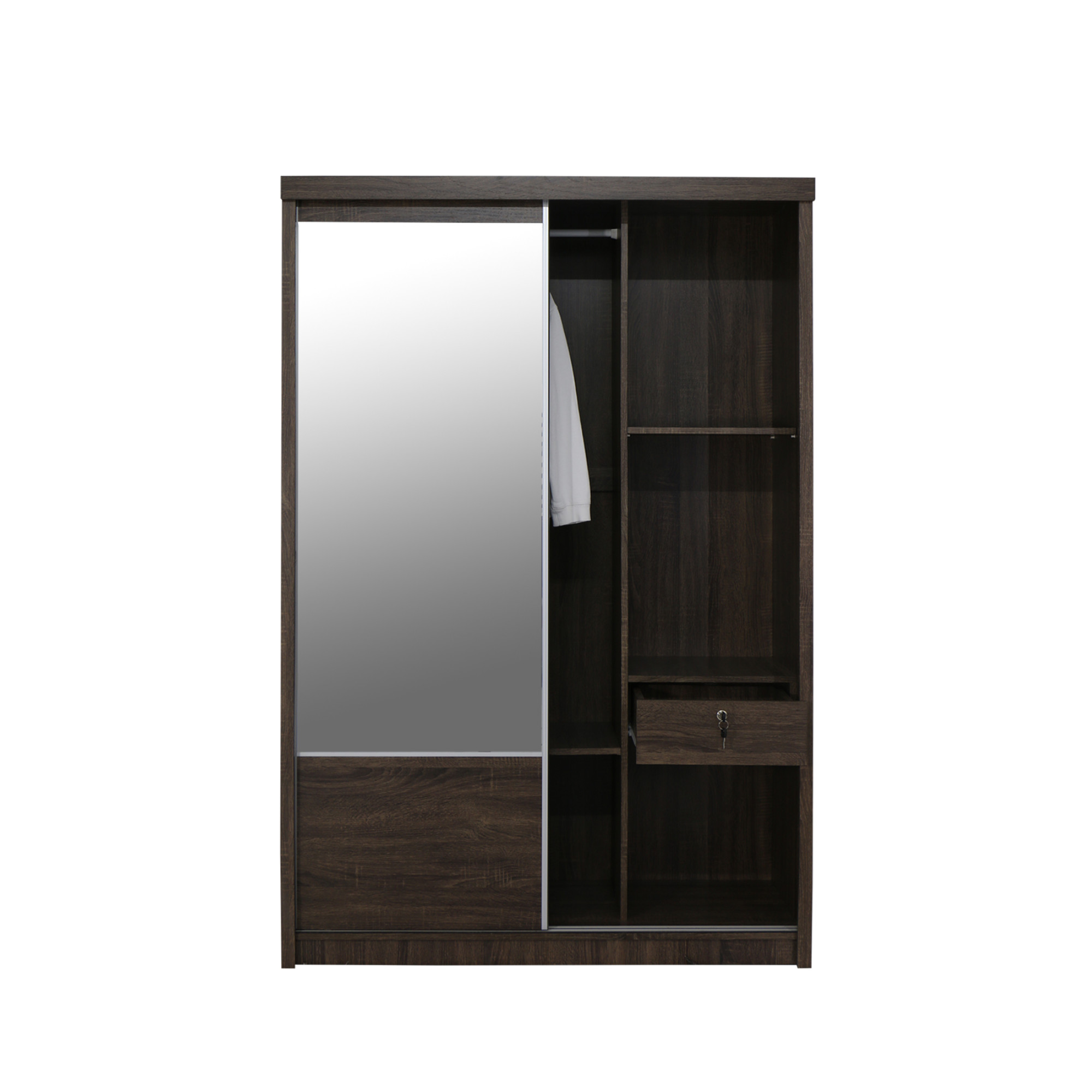 Sopheap Sliding Door Wardrobe 4FT Walnut
