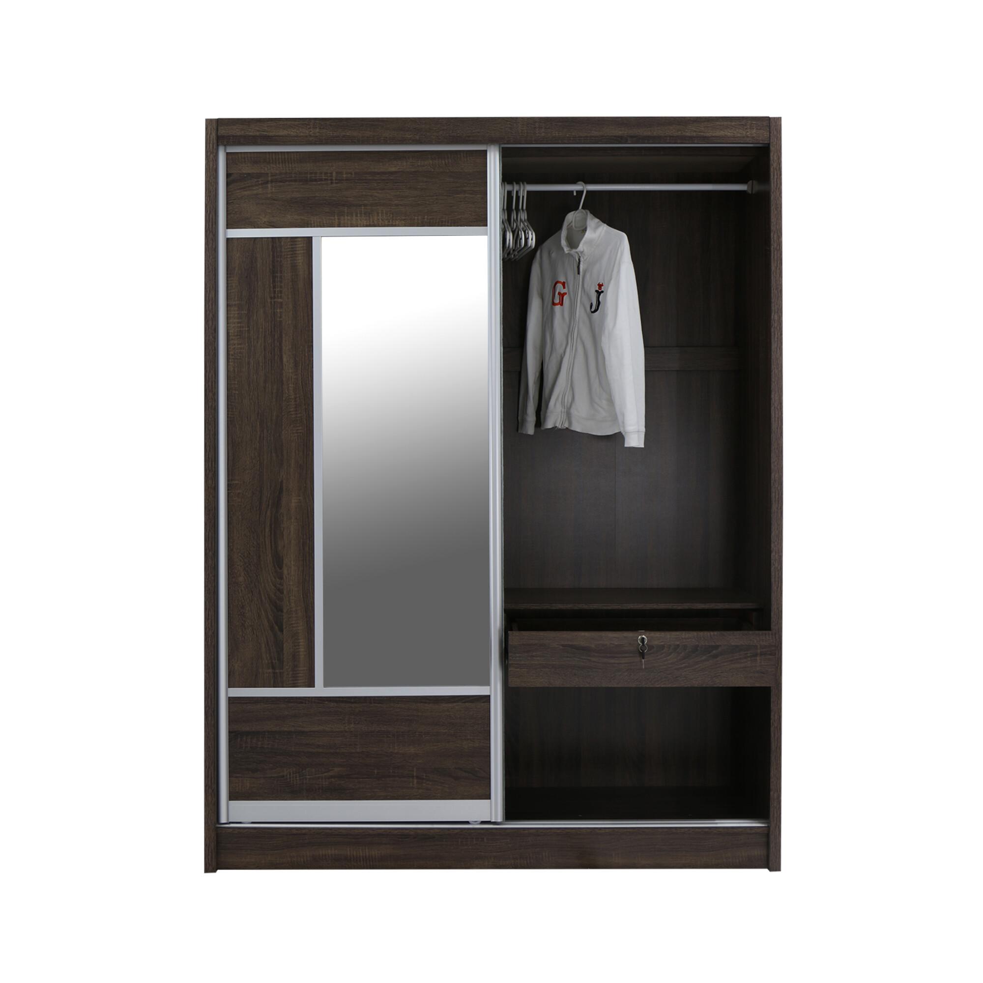 Alfred Sliding Door Wardrobe 5ft Walnut Furniture Home Dcor