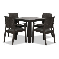 Landon Outdoor Dining Set in Coffee  (1+4)