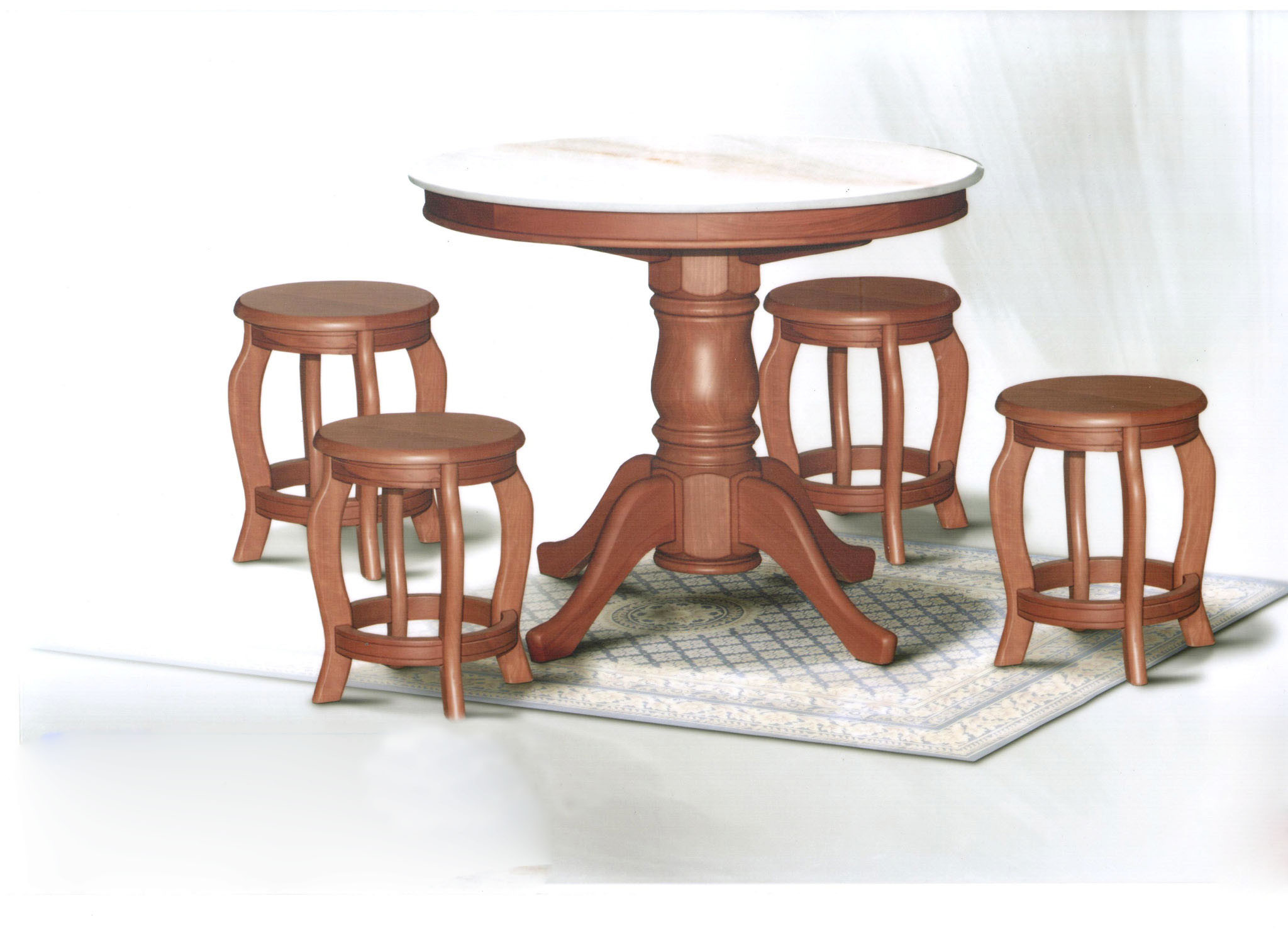 Dn788 Round Marble Dining Table 4ft 6 Stools Set