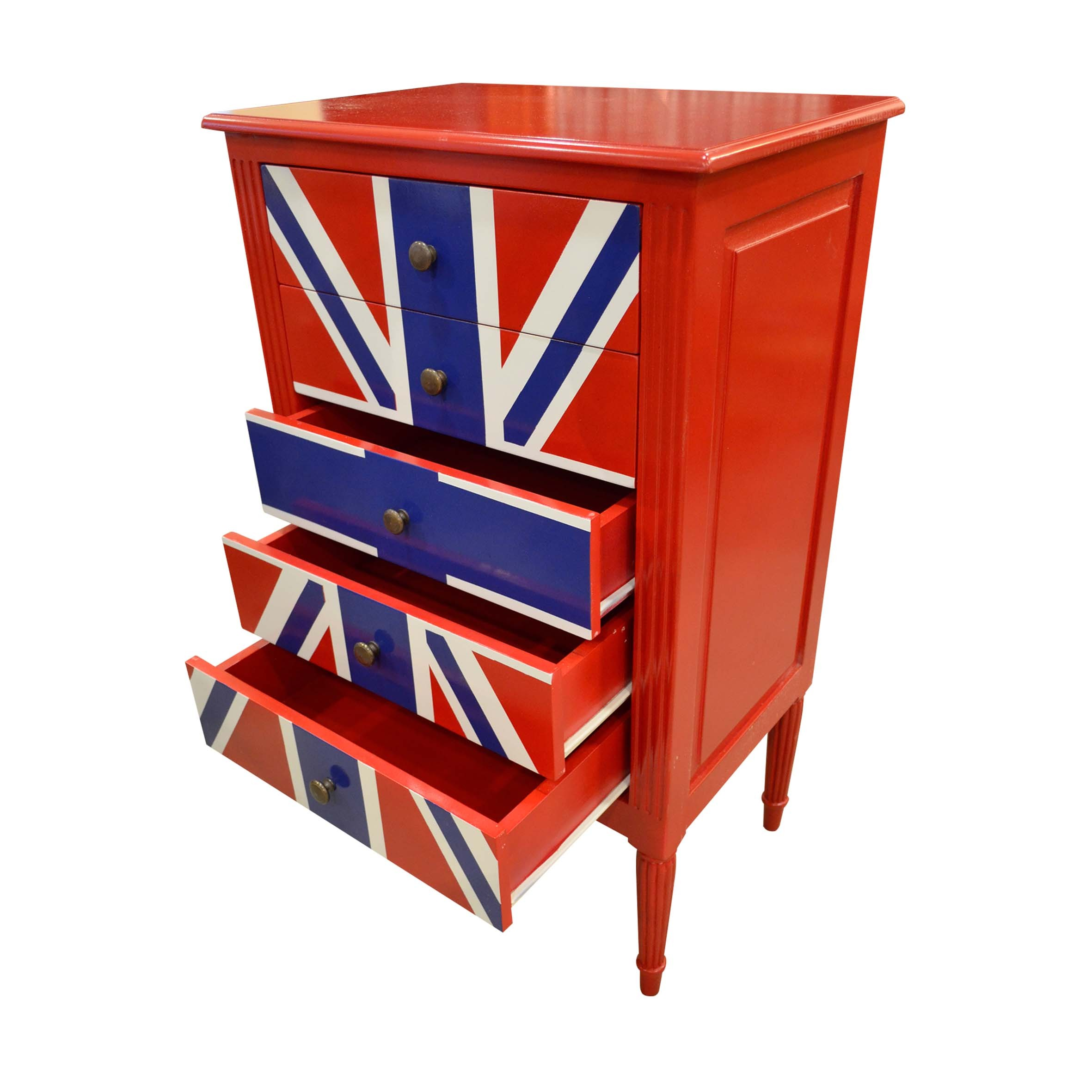 Chest Of Drawer Union Jack Red