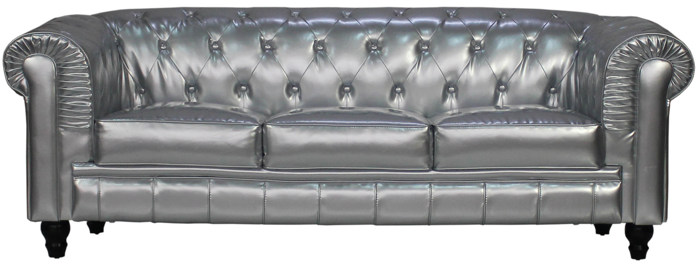 Beautiful Benjamin Classical 3 Seater PU Leather Sofa In Silver