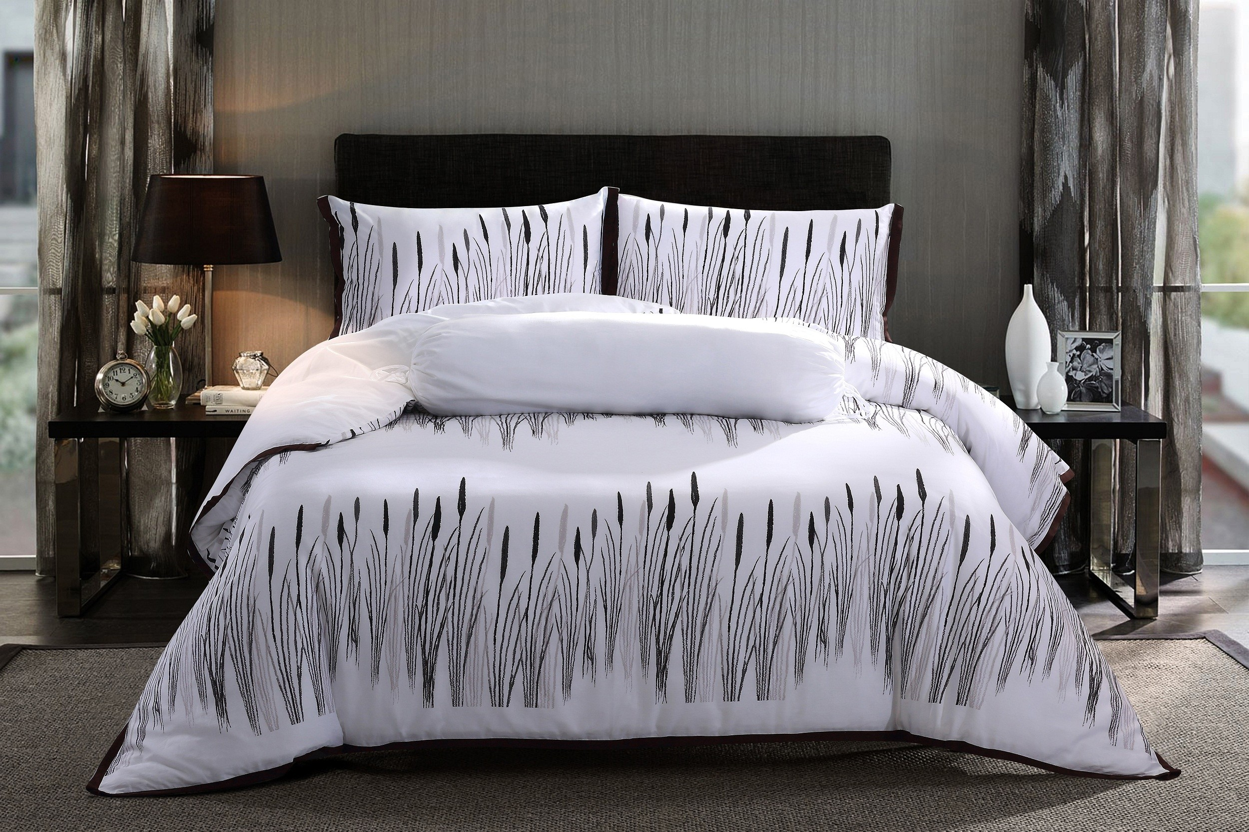 king bedrooms brenna pc bed gray black products bedding comforter linens set
