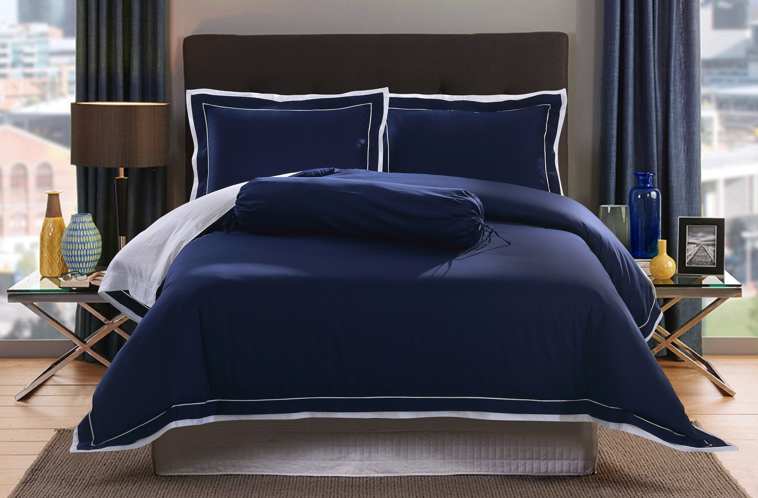 Oculus Living Royal Hotel Collection Egyptian Cotton Sa Hem Sch Series Indigo Blue Bed