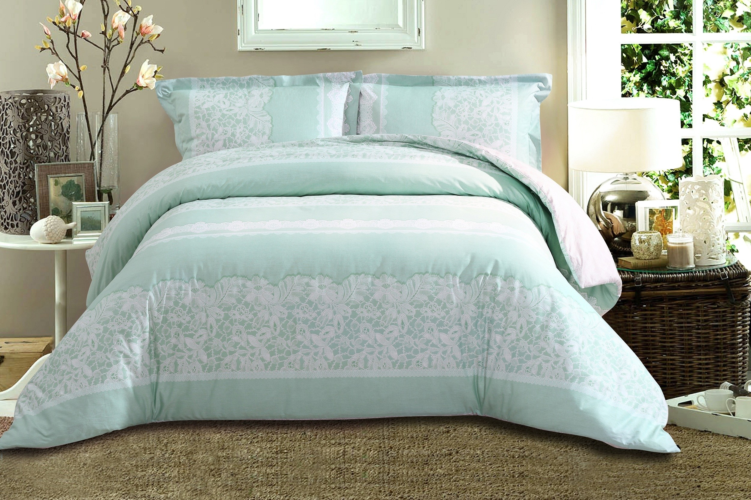 Oculus living royal hotel collection pigment print series mint green white floral lace bed set