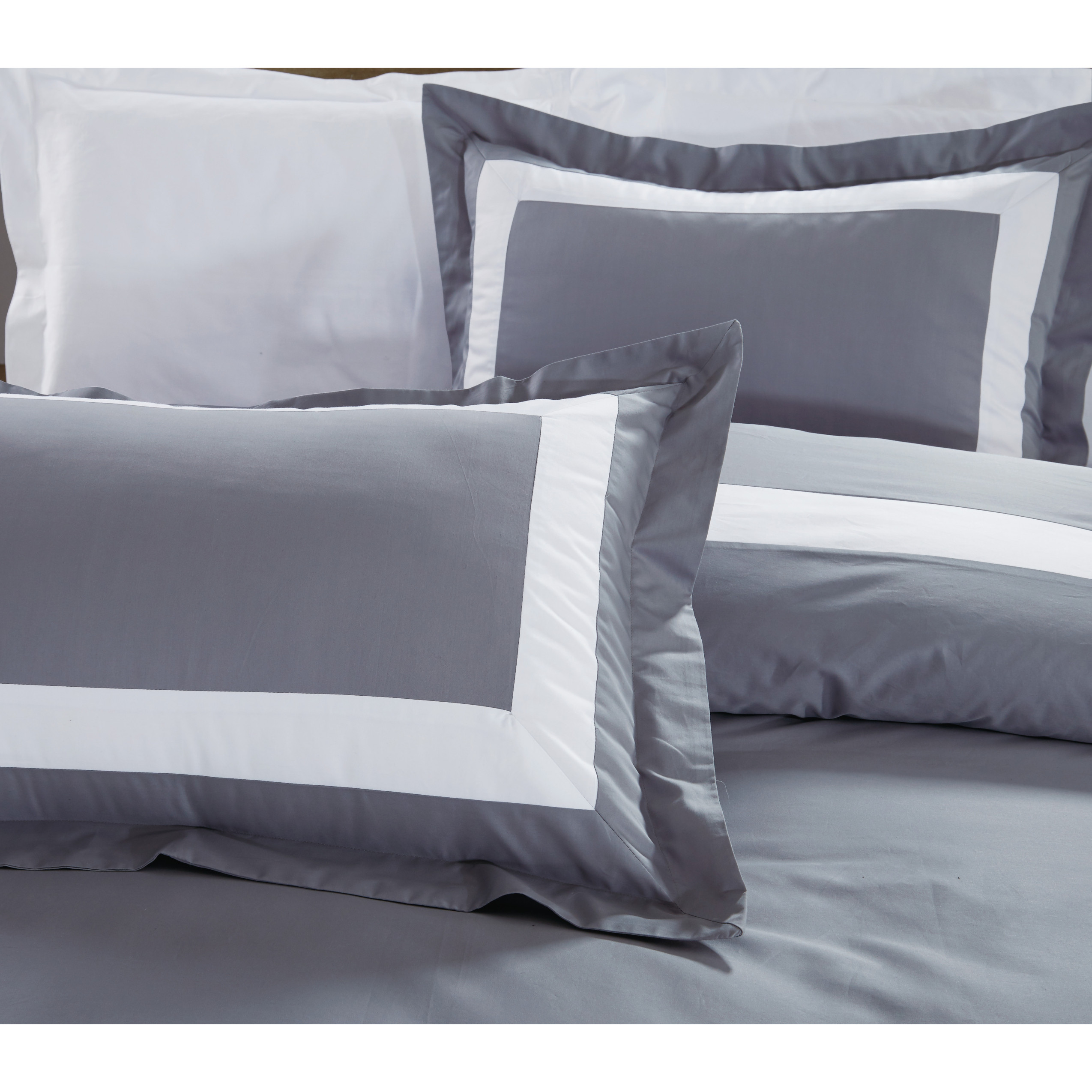 7155ce7e0f30 OC - Royal Hotel Collection Border Series White Grey Bed Set ...