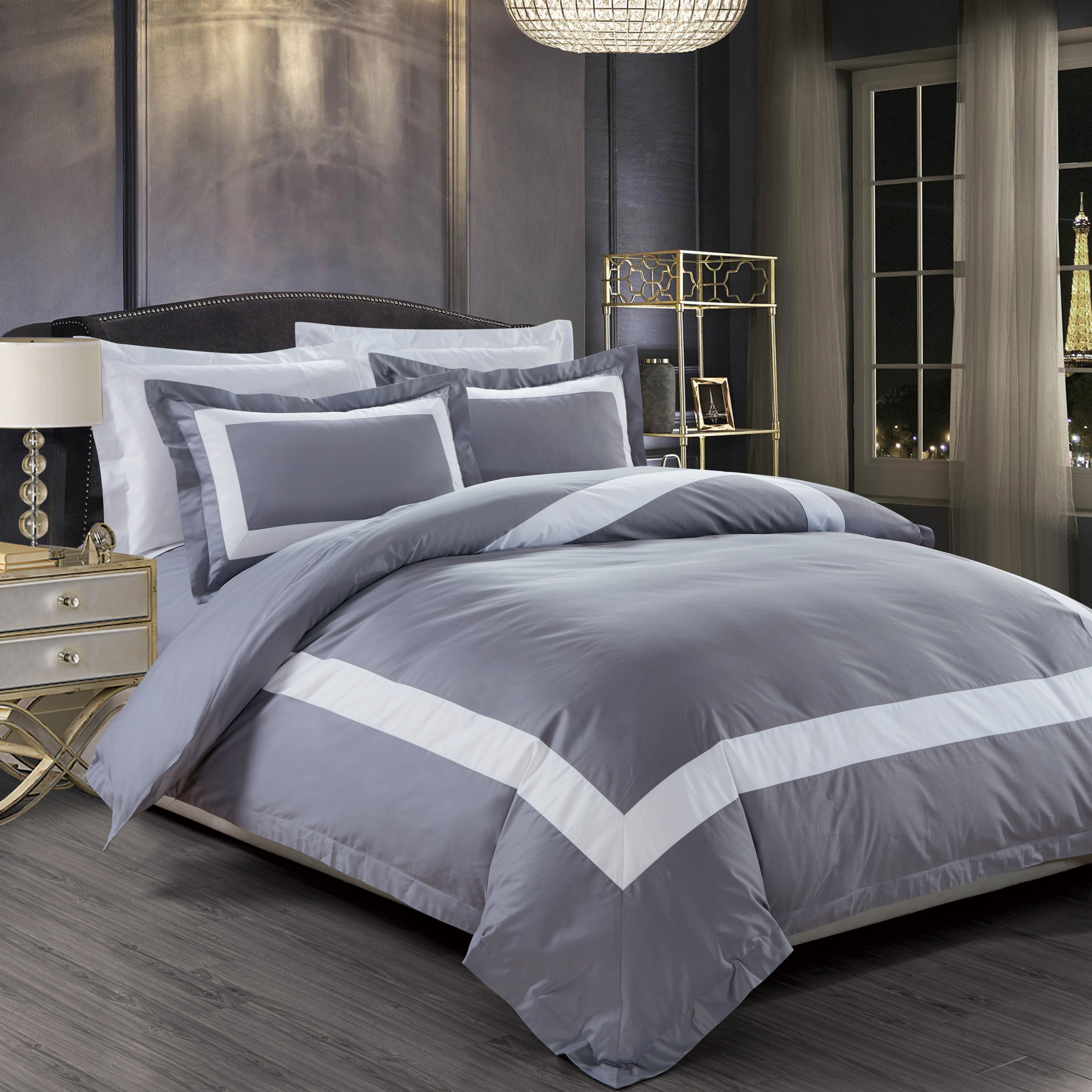 a71dca62e5b8 OC - Royal Hotel Collection Border Series White Grey Bed Set   Furniture &  Home Décor   FortyTwo