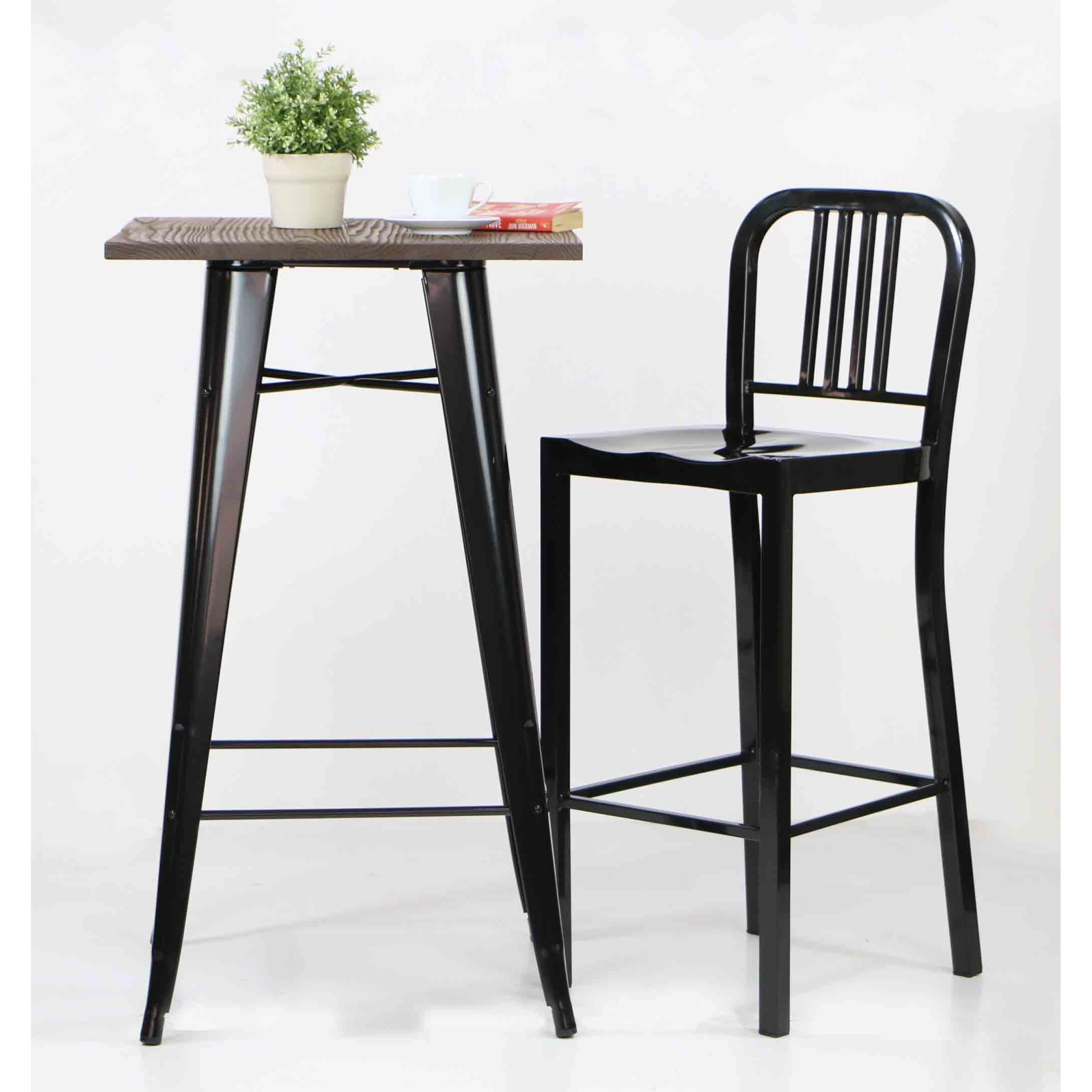 Loft Style Bar Table With Wood Top In Black Furniture Home Décor Fortytwo