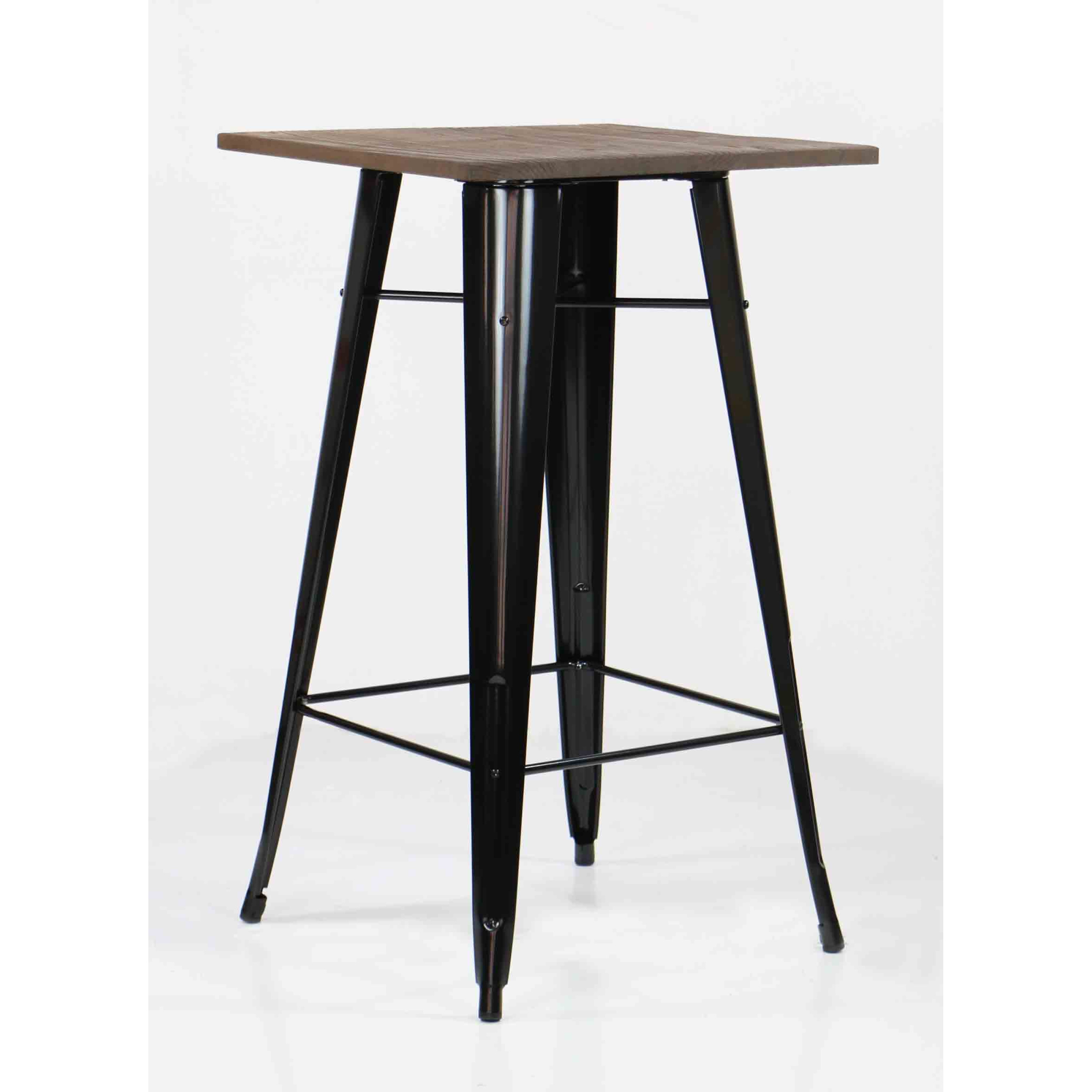 Loft Style Bar Table With Wood Top In Black 22 Customer Reviews
