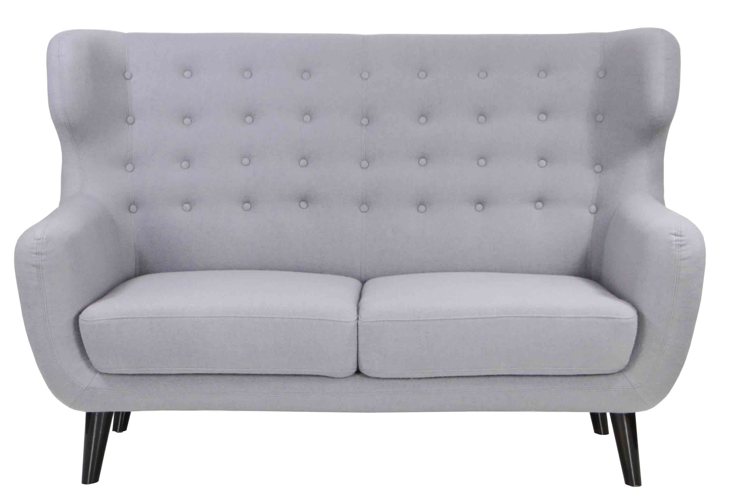 Replica wingback designer 2 seater sofa in light grey for Design sofa replica