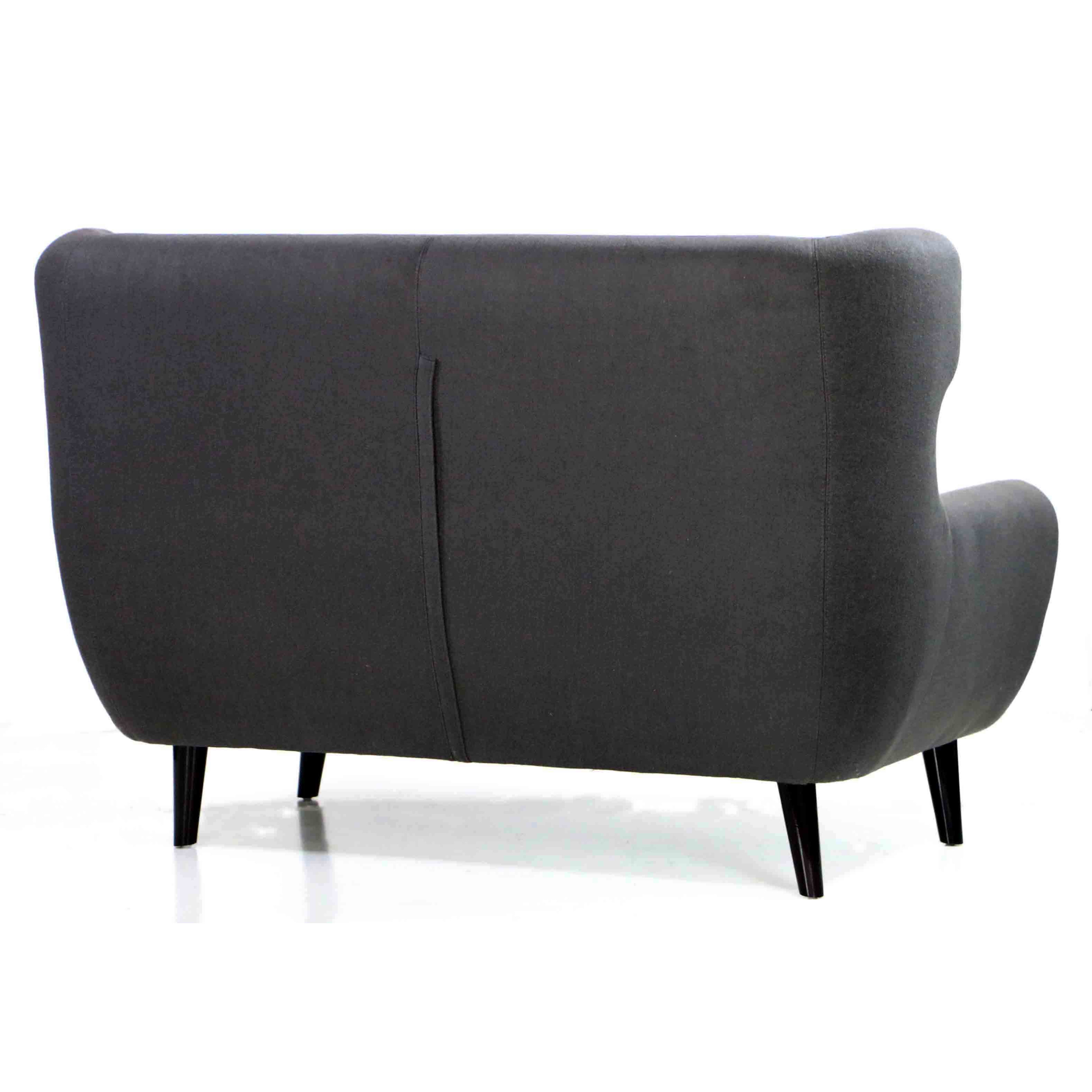 Replica wingback designer 2 seater sofa in charcoal for Design sofa replica