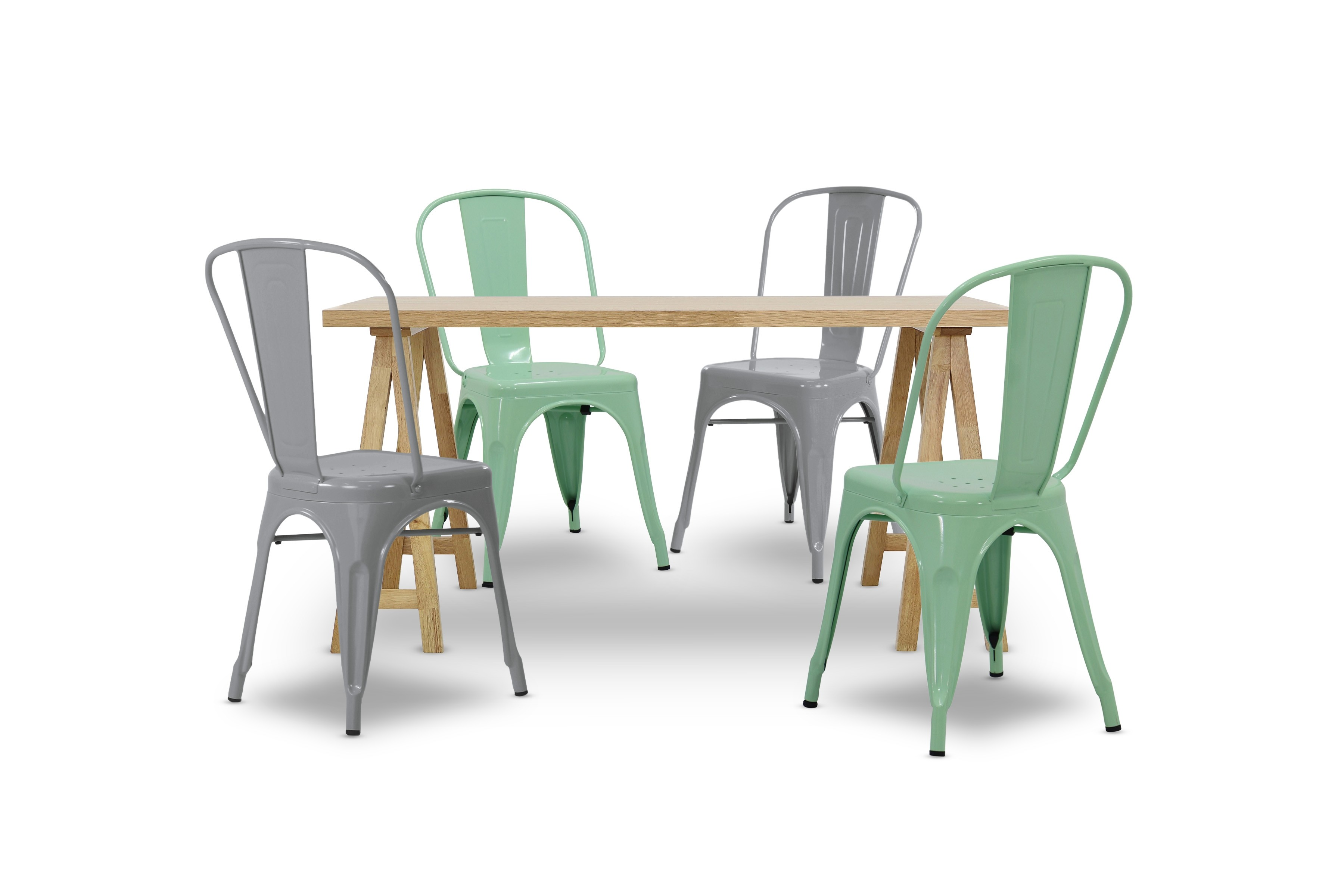 Cie Dining Table With Grey And Mint Chair Set Oak