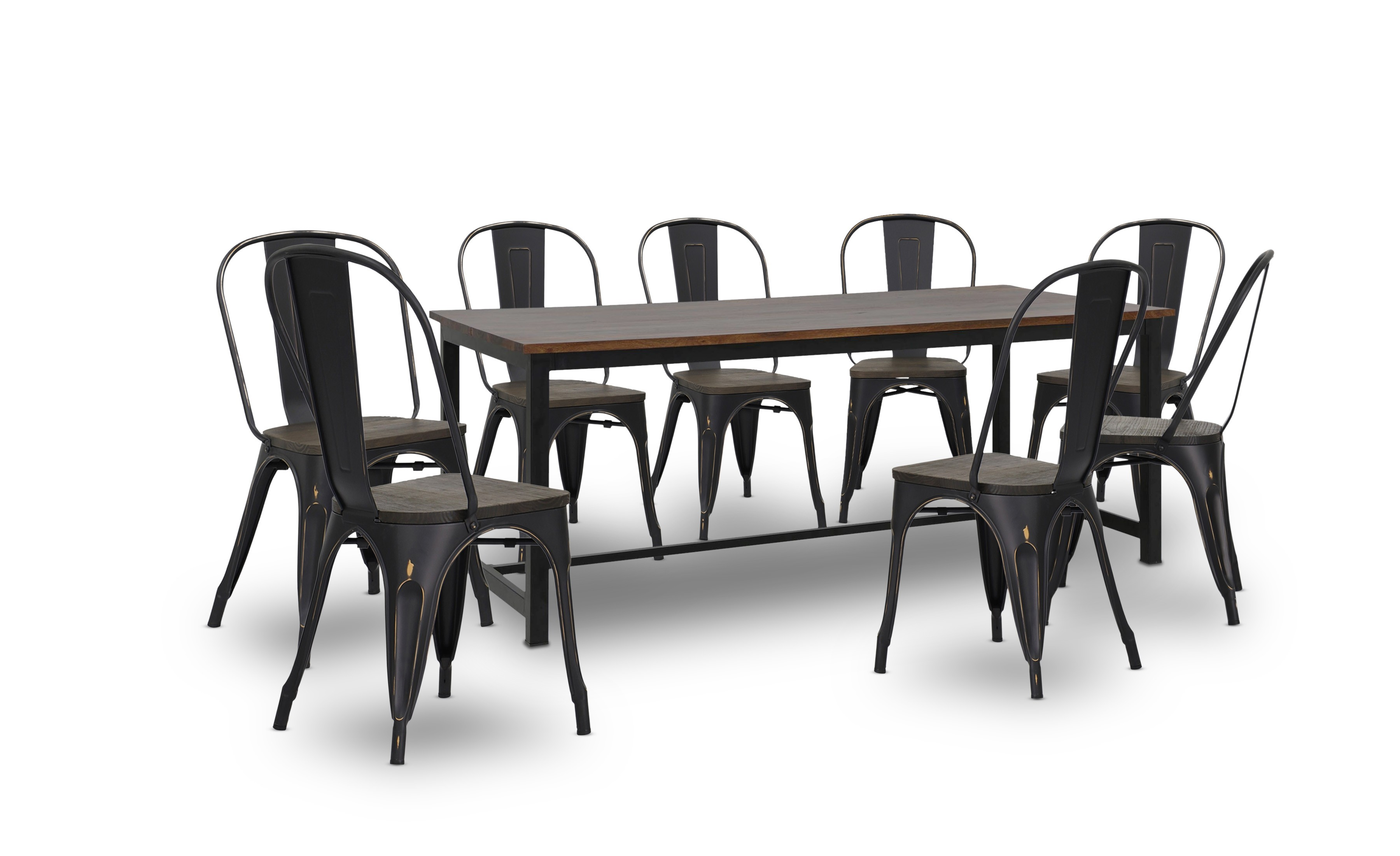Mahli Dining Table With Retro Metal Chair In Antique Black Set (1+8)