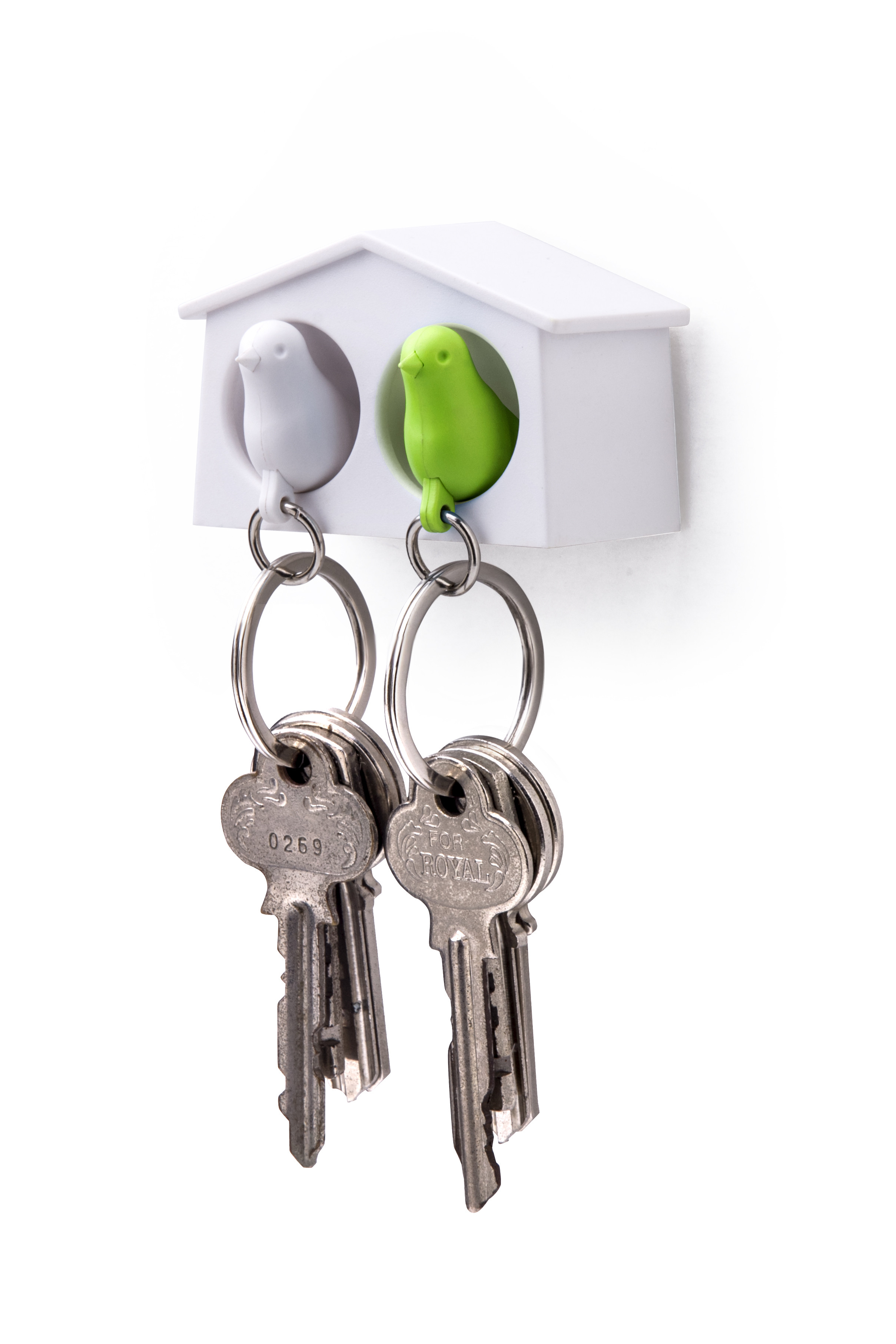 Mini Duo Sparrow Key Ring By Qualy (White House - White/Green Birds)