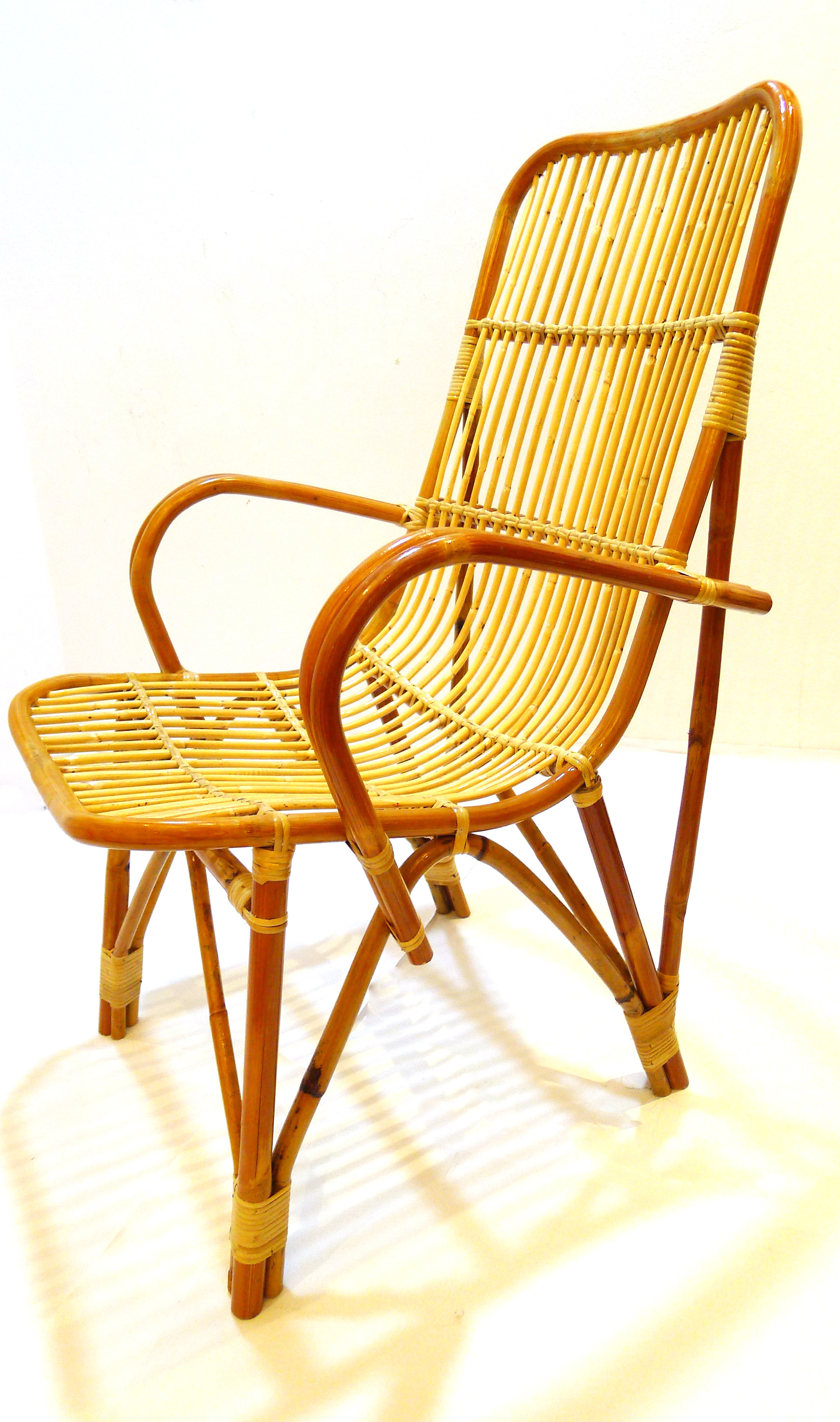 Large Brown Rattan Arm Chair High Seating