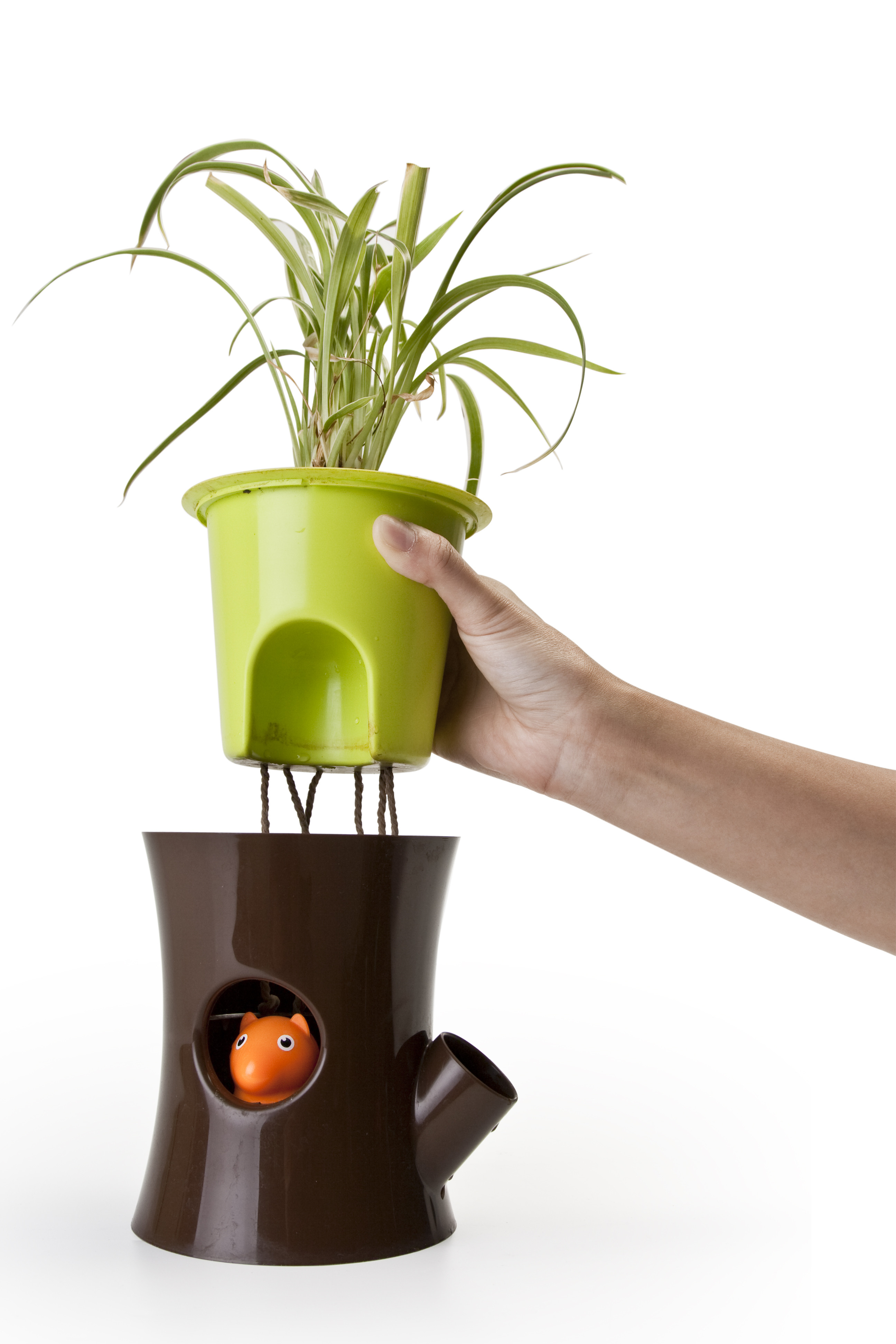 Log Amp Squirrel Self Watering Plant Pot By Qualy Brown