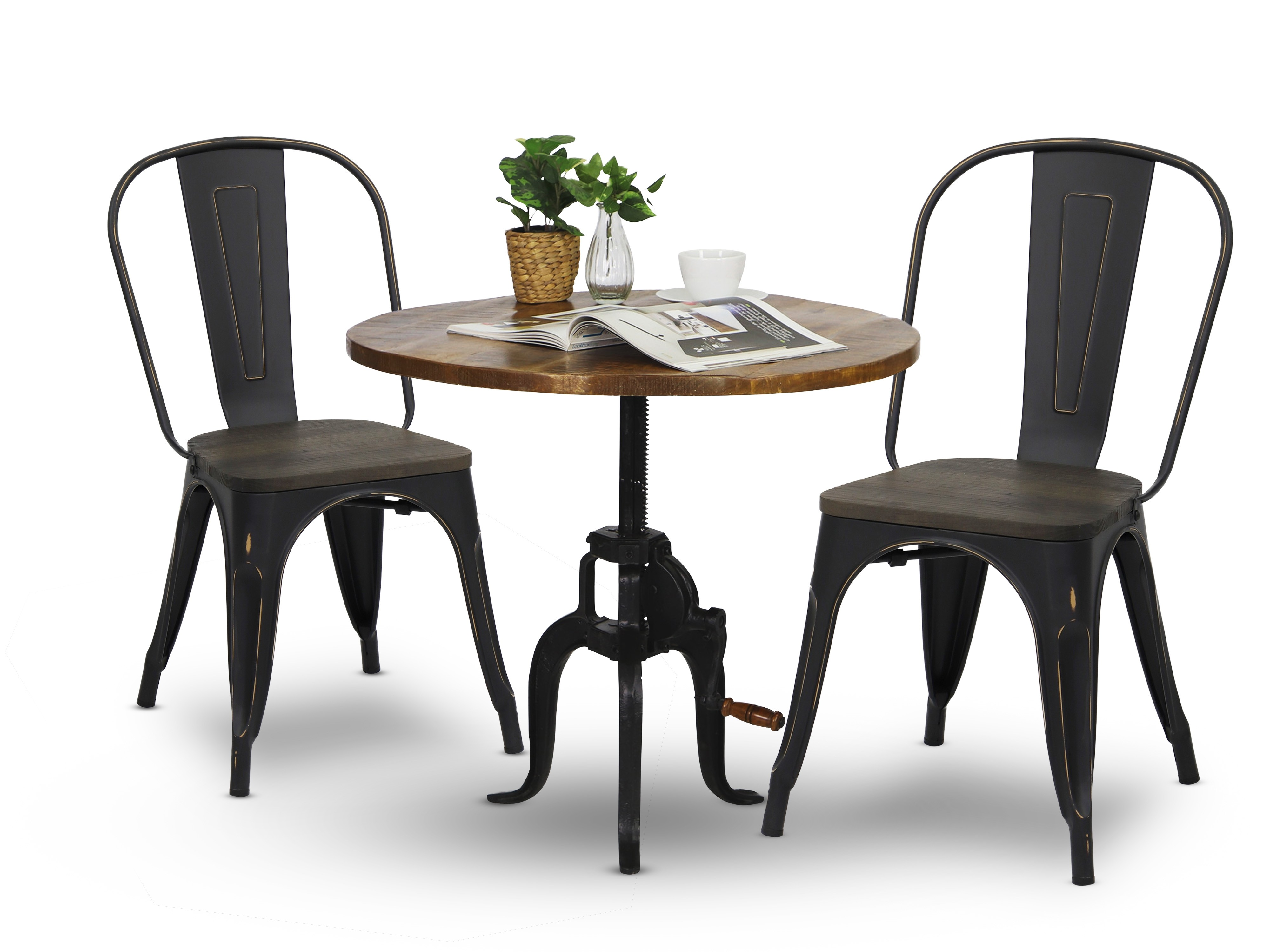 Beanie Round Dining Table With Retro Metal Chair In Antique Black Set (1+2