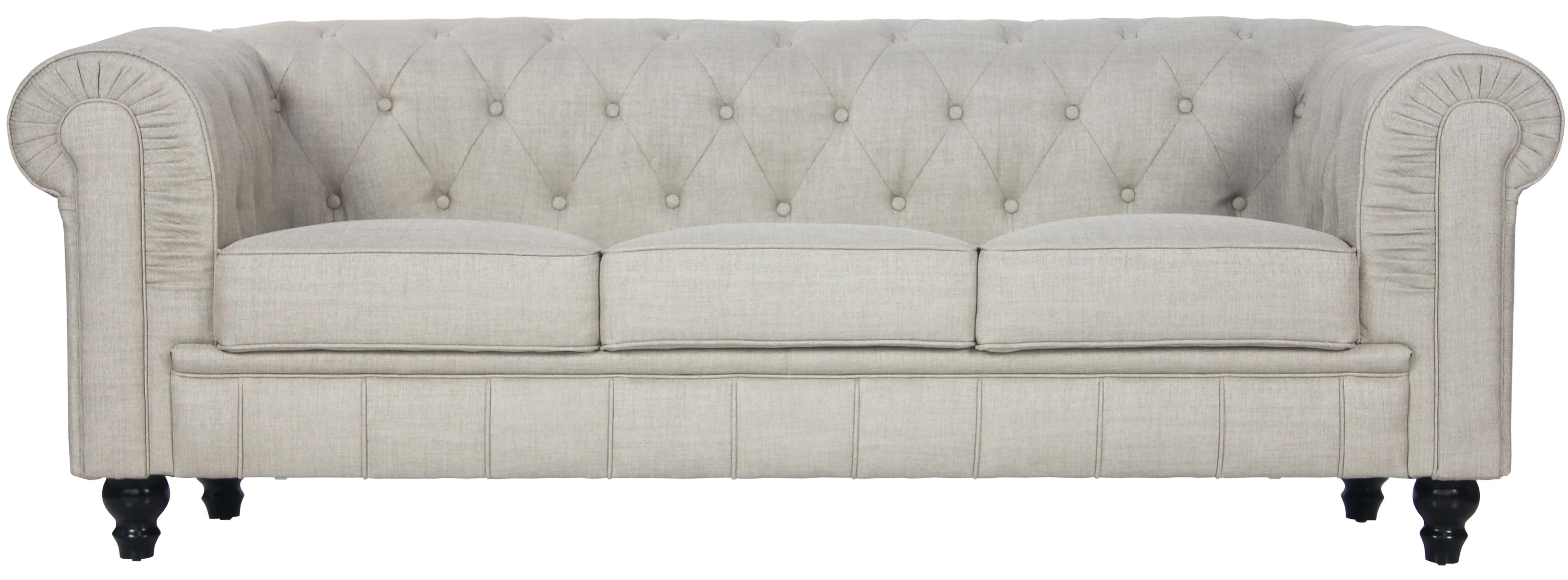 Benjamin Classical 3 Seater Fabric Sofa in Beige
