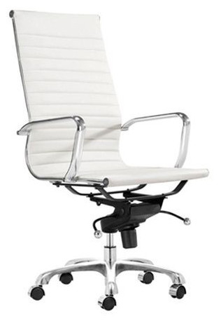 AOF High Back Executive Chair With Genuine Leather 8801   White Leather