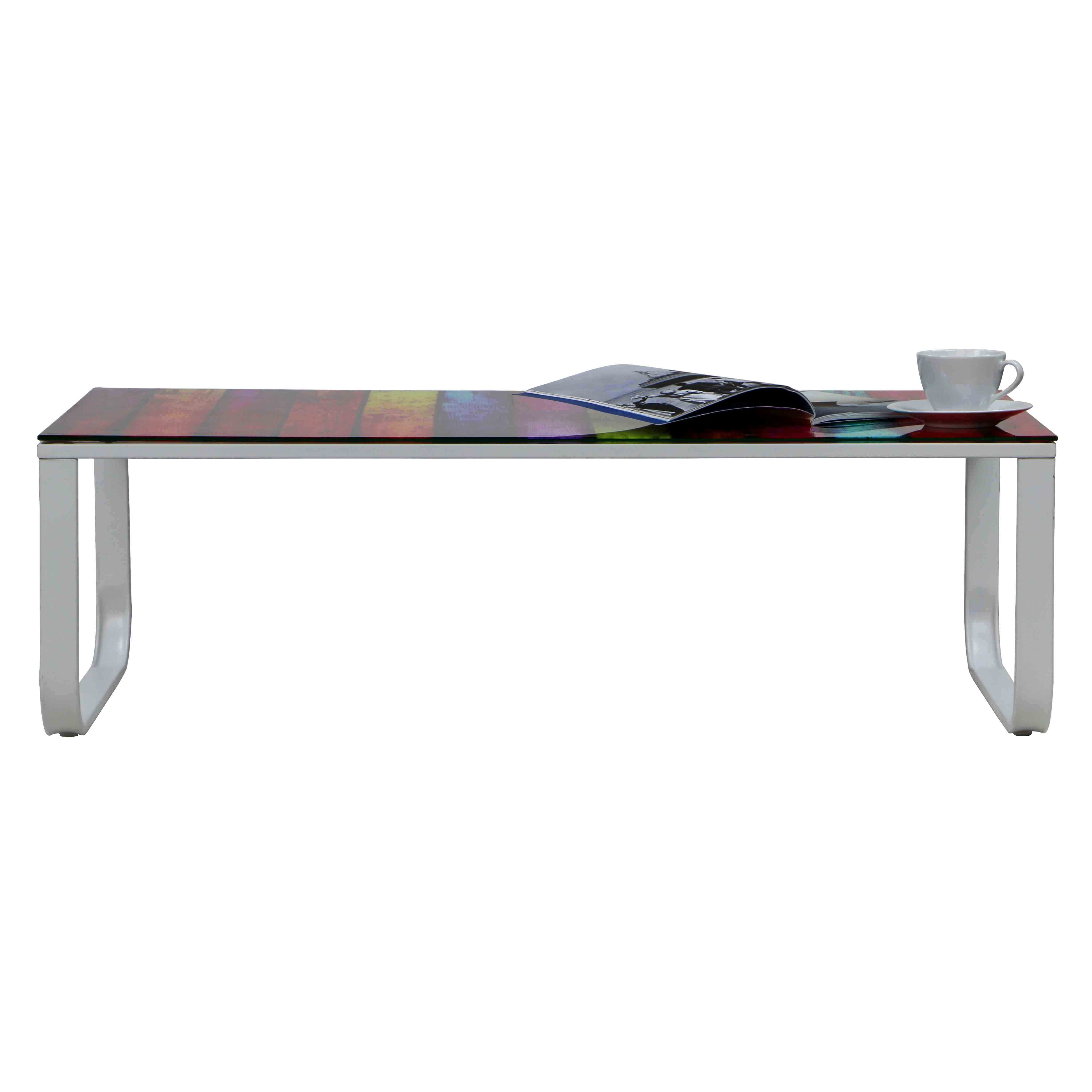 Iris rainbow tempered glass coffee table furniture for Tempered glass coffee table